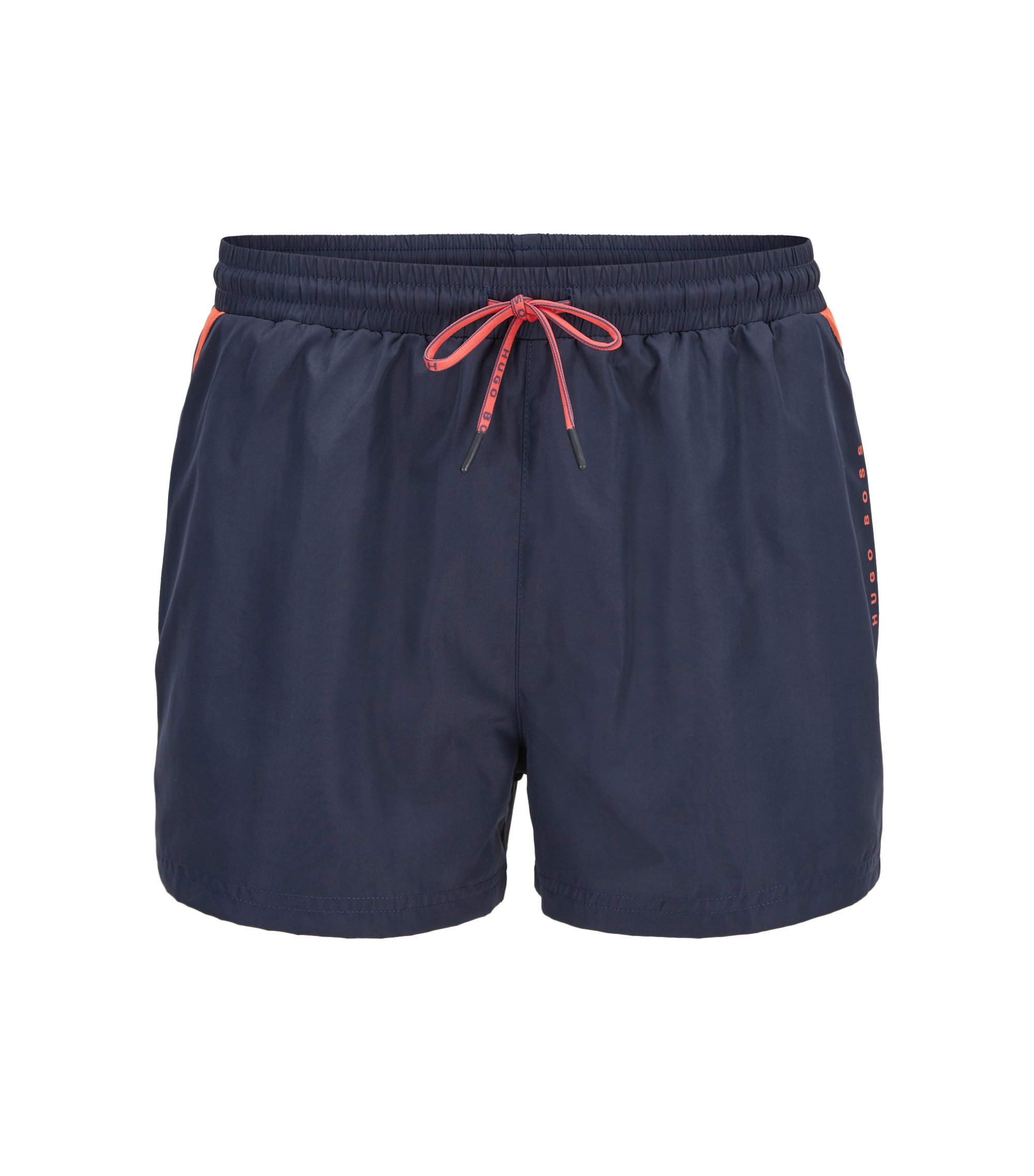 Drawstring swim shorts with sporty contrasts, Open Grey