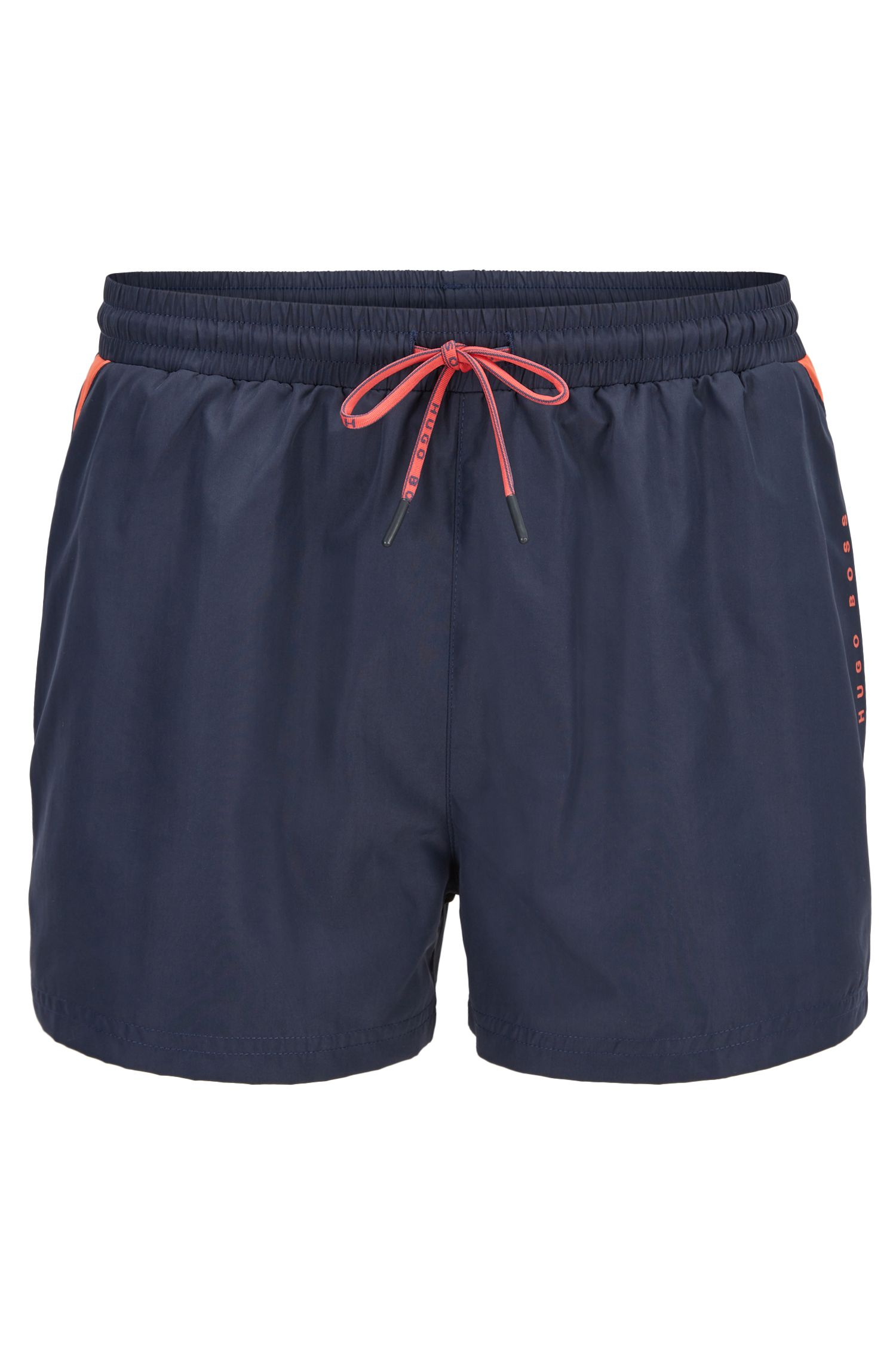 Drawstring swim shorts with sporty contrasts