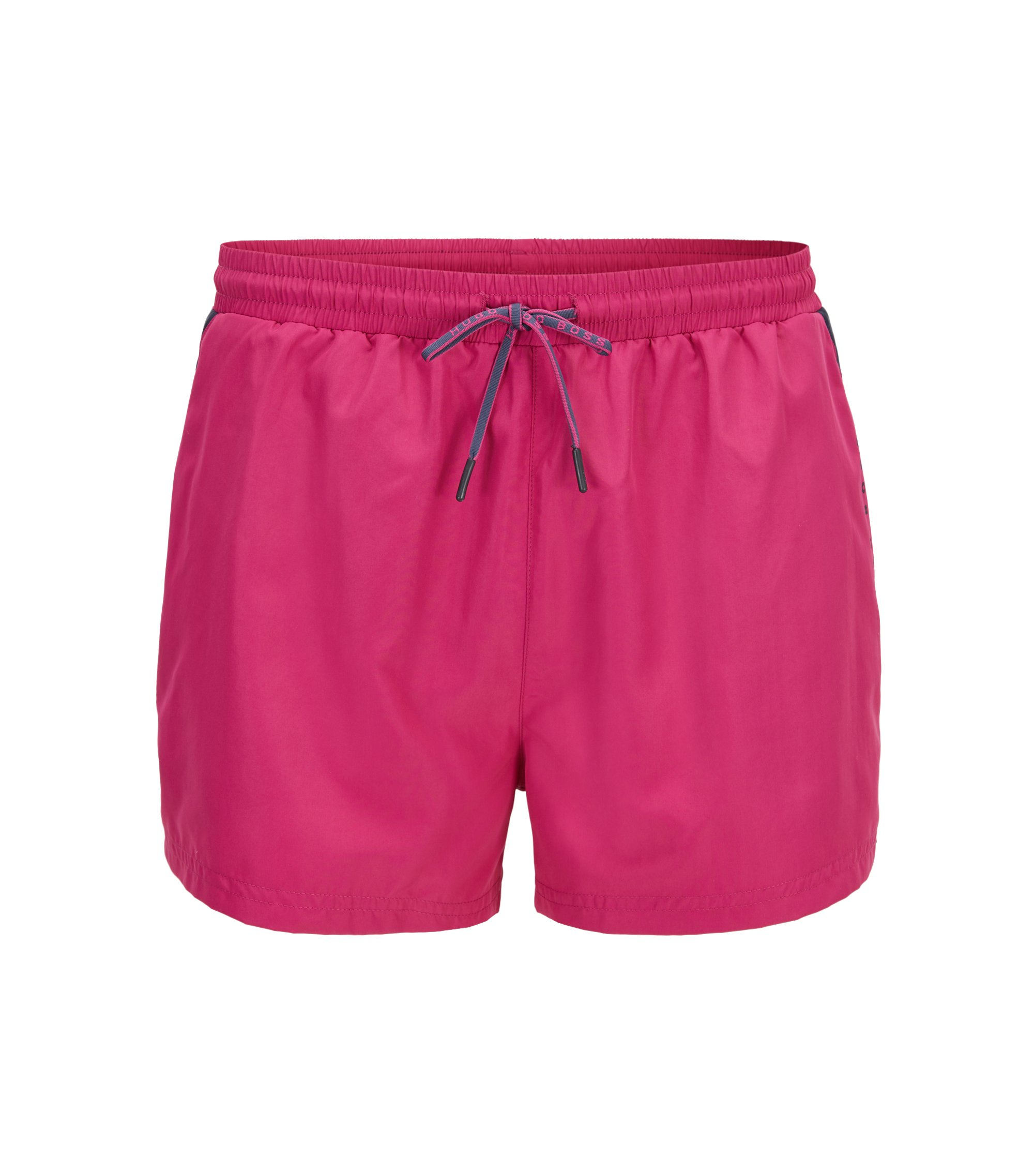 Drawstring swim shorts with sporty contrasts, Pink