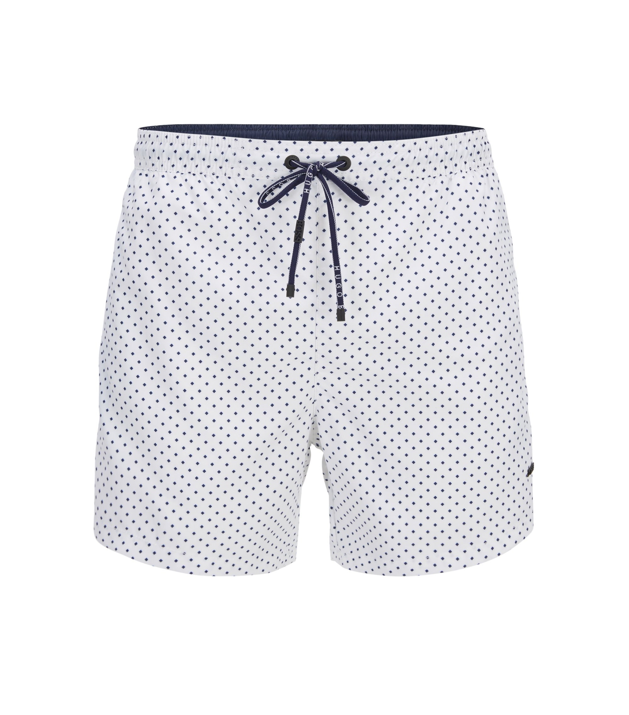 Micro-pattern swim shorts in quick-drying technical fabric, Open White