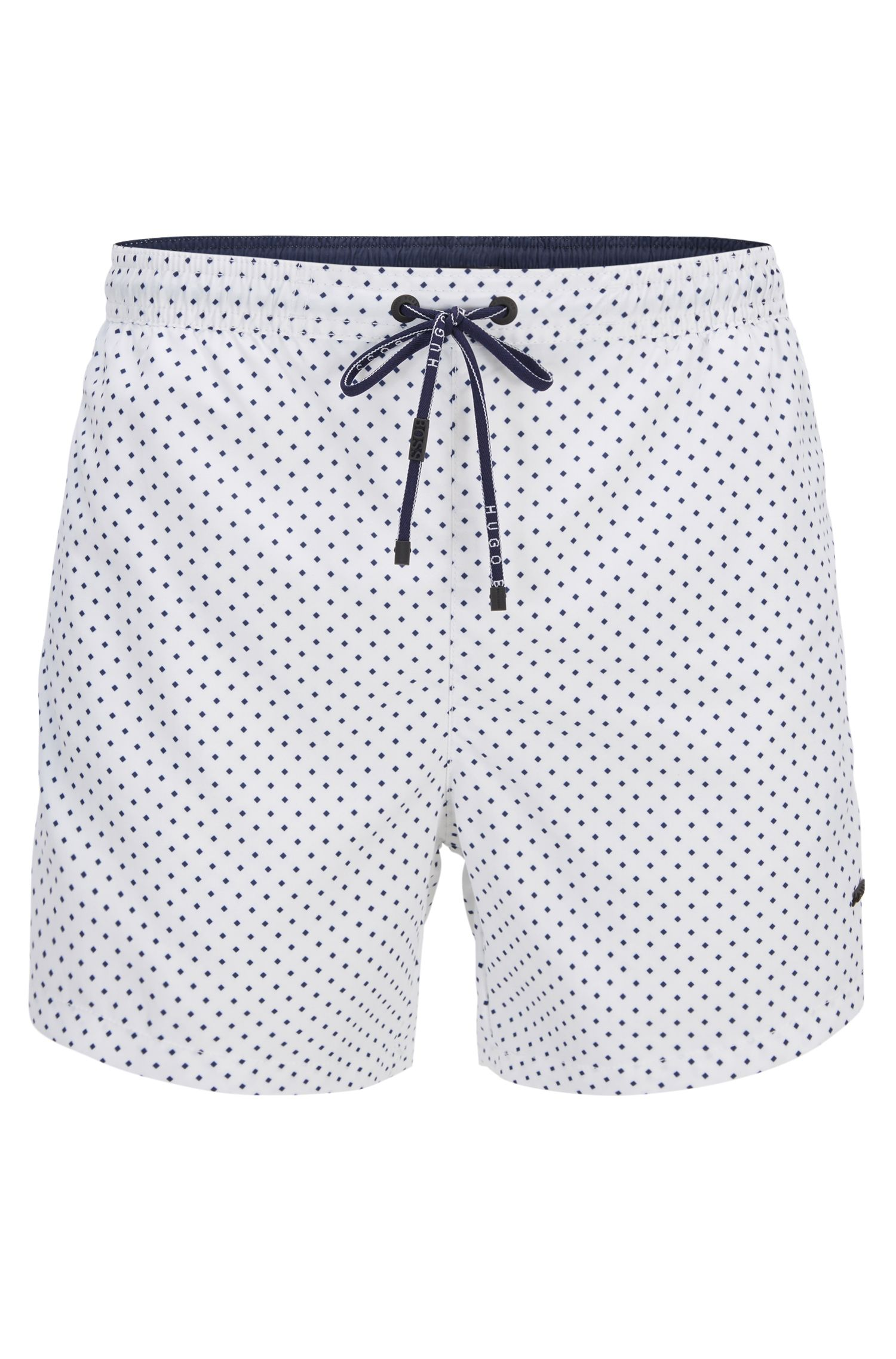Micro-pattern swim shorts in quick-drying technical fabric
