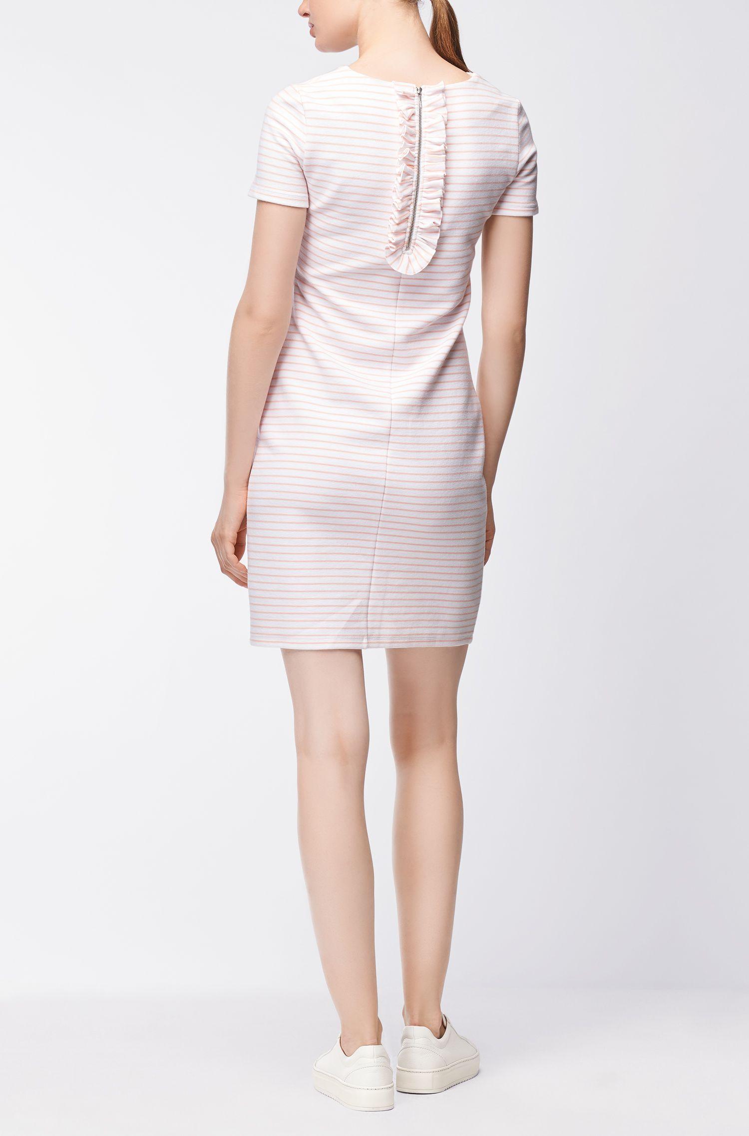 Gestreiftes Kurzarm-Kleid aus elastischem Baumwoll-Mix