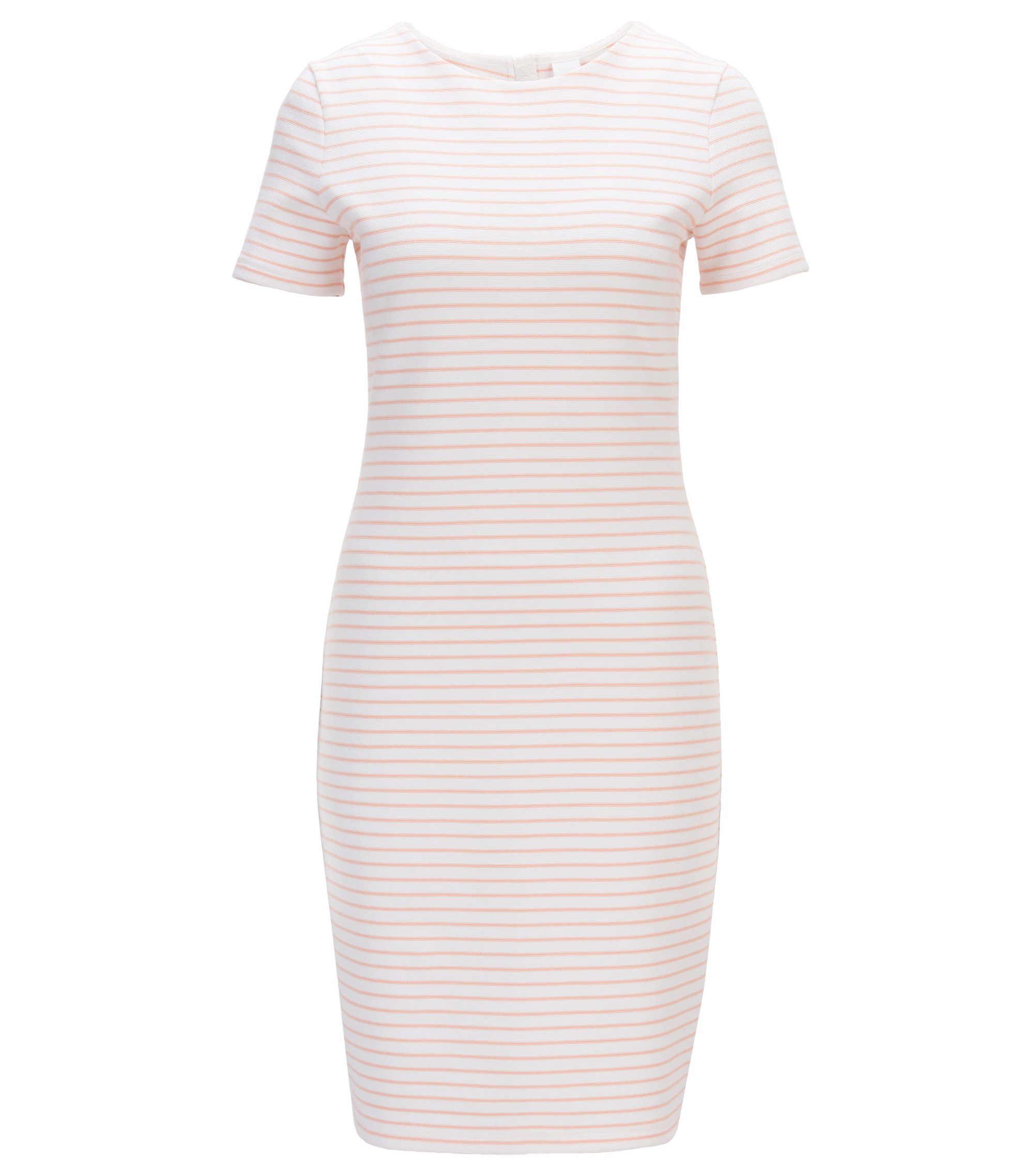 Short-sleeved striped dress in a cotton blend, White