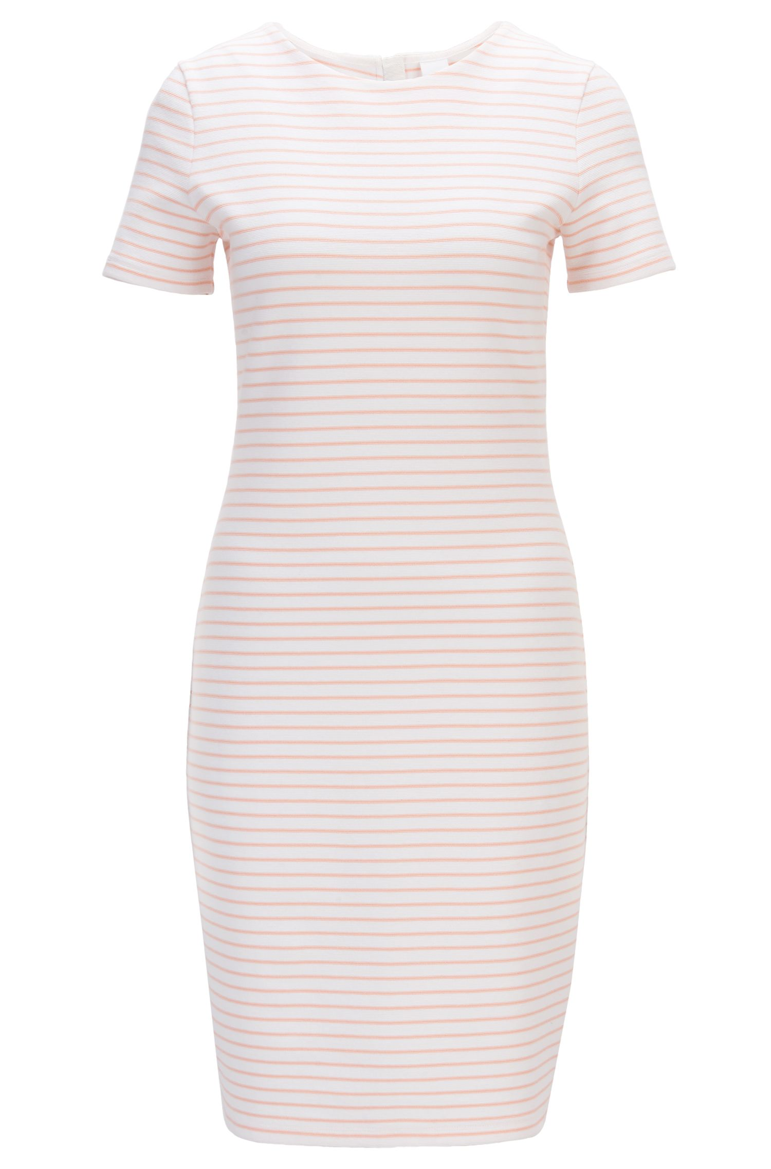 Short-sleeved striped dress in a cotton blend