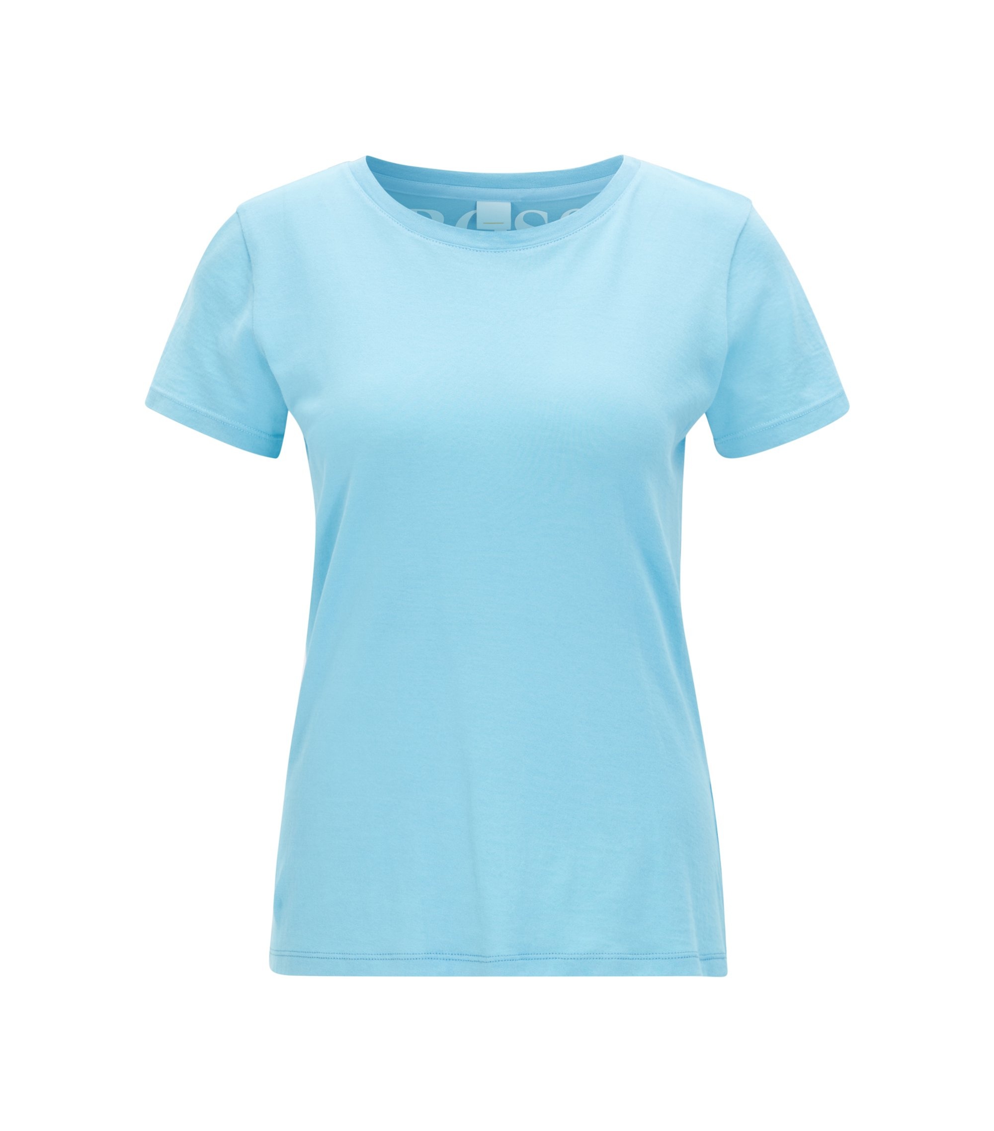 T-shirt slim fit in jersey di cotone, Celeste