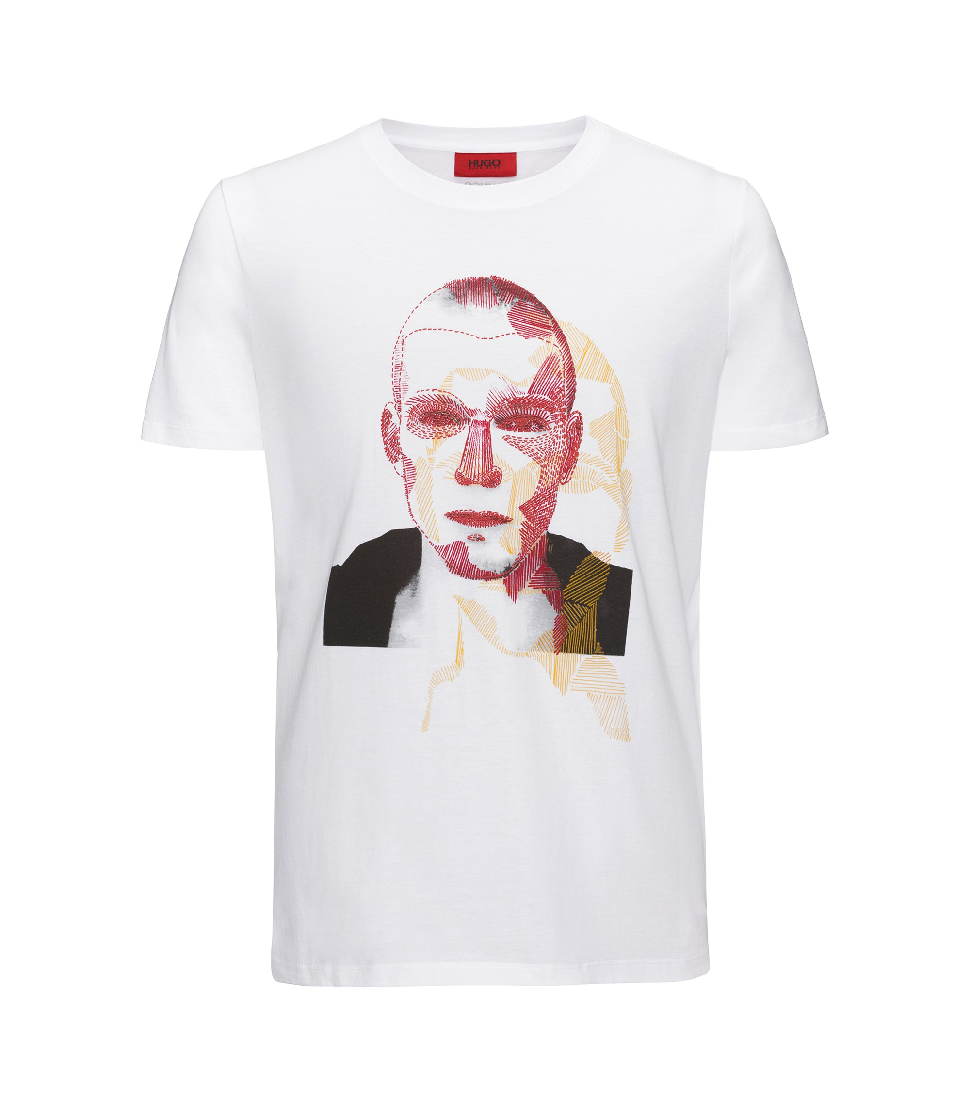 T-shirt Relaxed Fit en coton à motif artistique original, Blanc