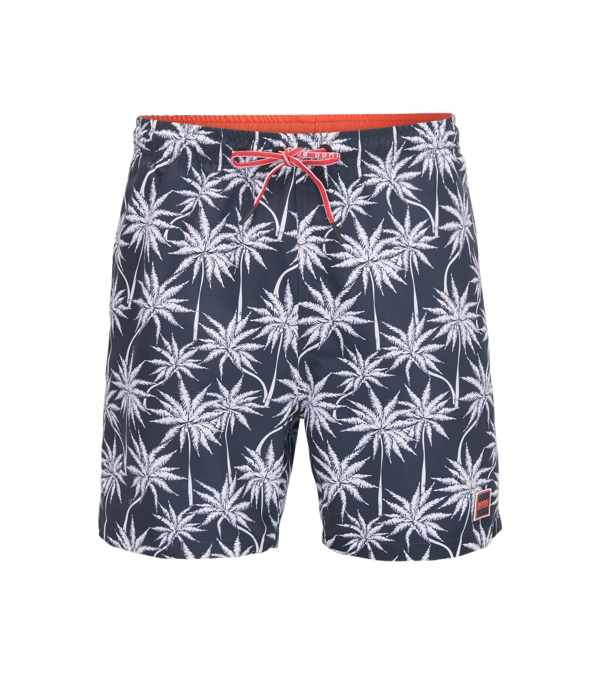 Drawstring swim shorts with palm print, Open Grey