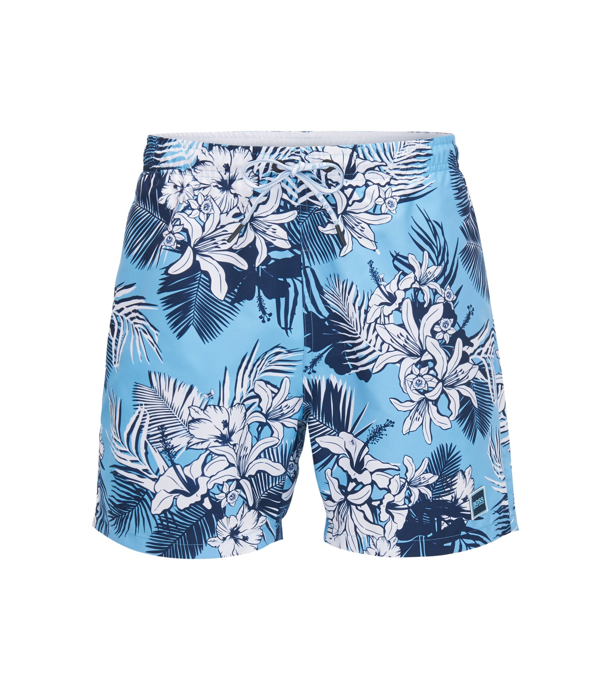 Drawstring swim shorts with palm print, Open Blue