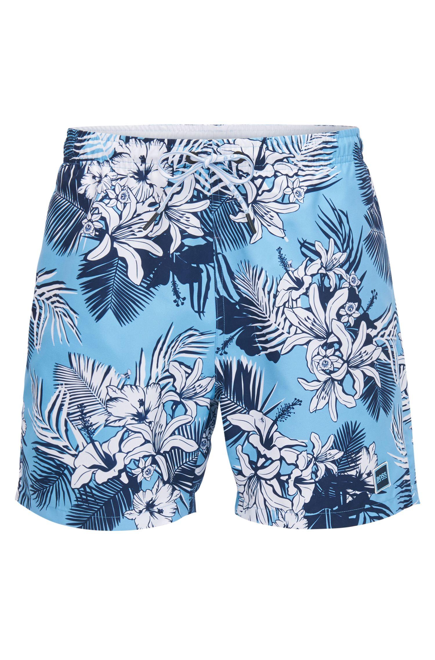 Drawstring swim shorts with palm print