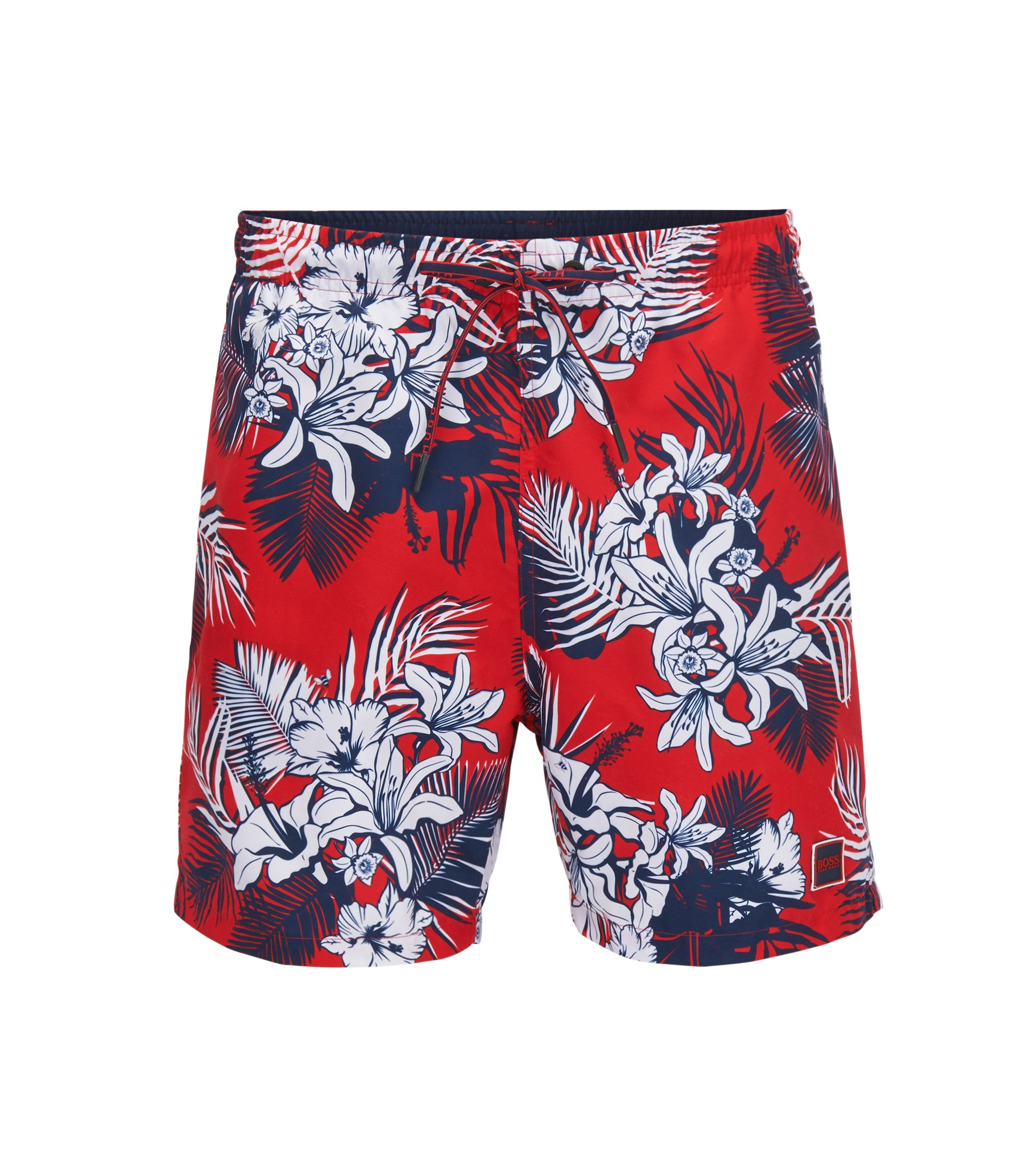 Drawstring swim shorts with palm print, Open Red
