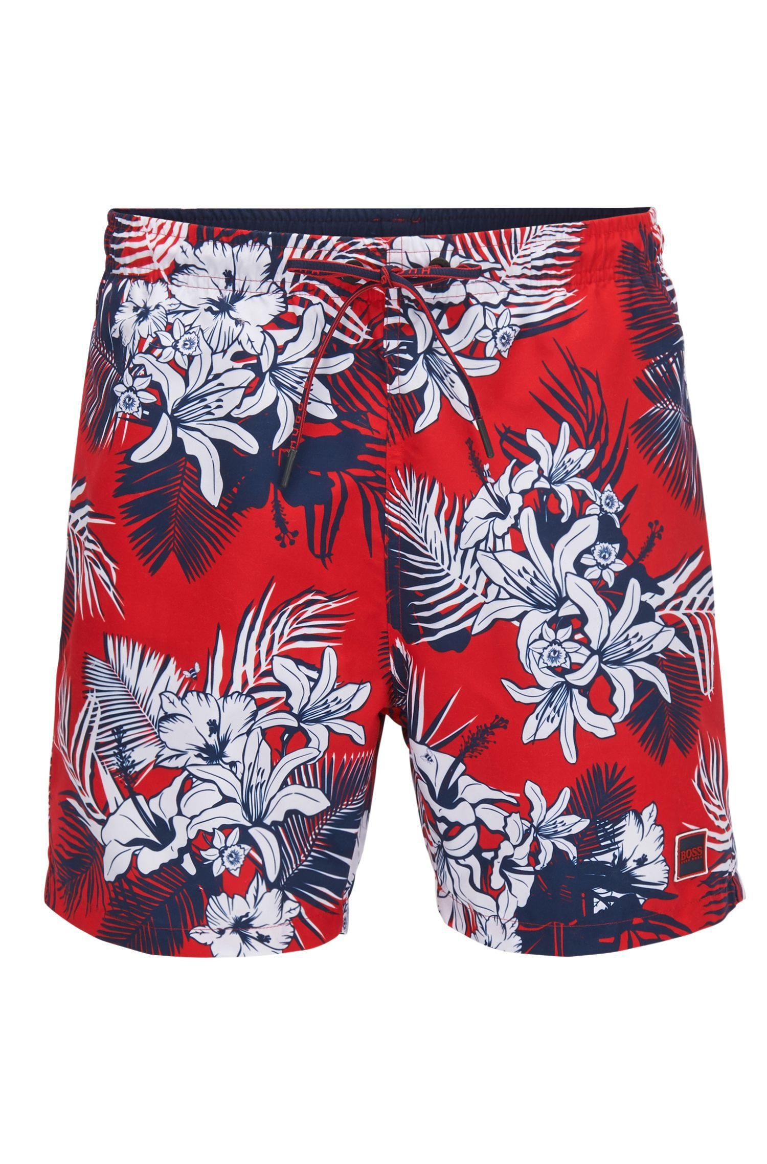Drawstring swim shorts with palm print