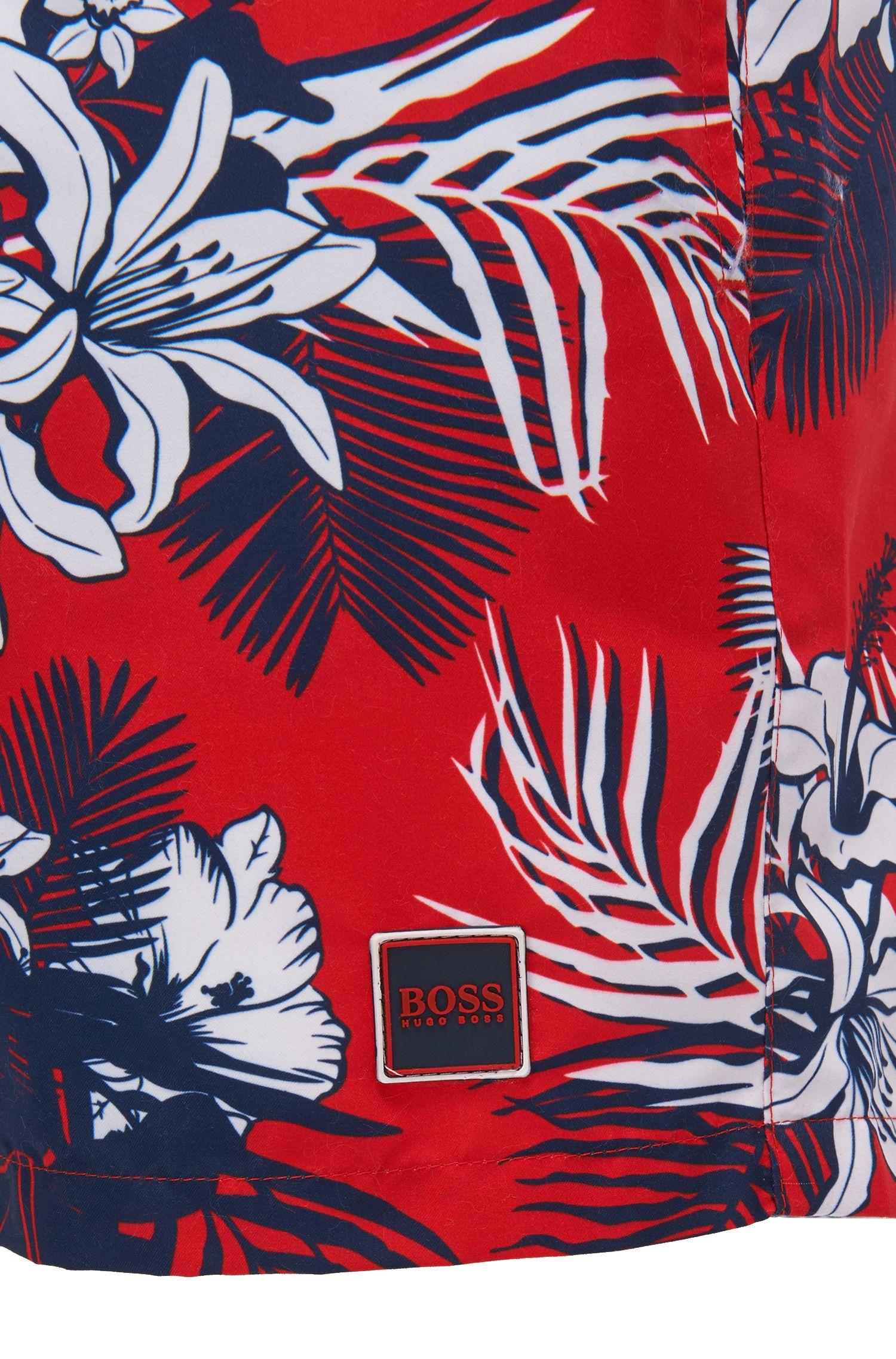 Short de bain à imprimé palmiers avec cordon de serrage