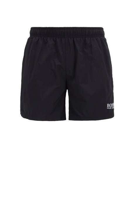 Quick-dry swim shorts in woven garbardine, Black