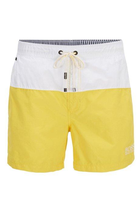Swim shorts in quick-drying technical fabric, Open Yellow