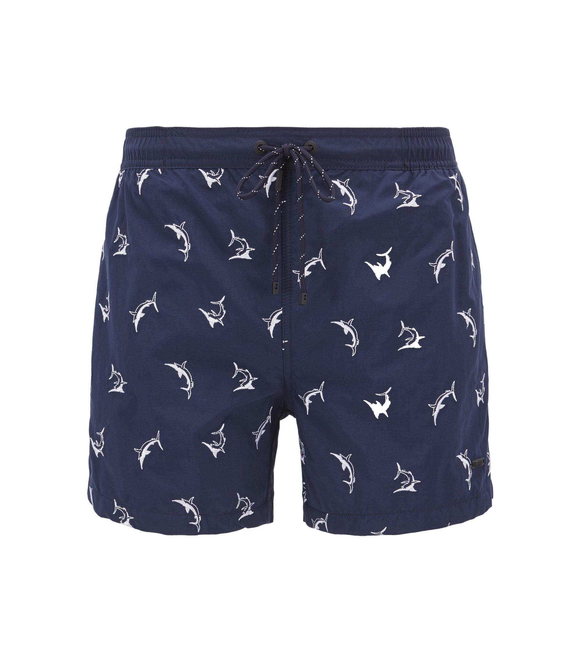 Shark-embroidered swim shorts with drawstring waist, Open Blue