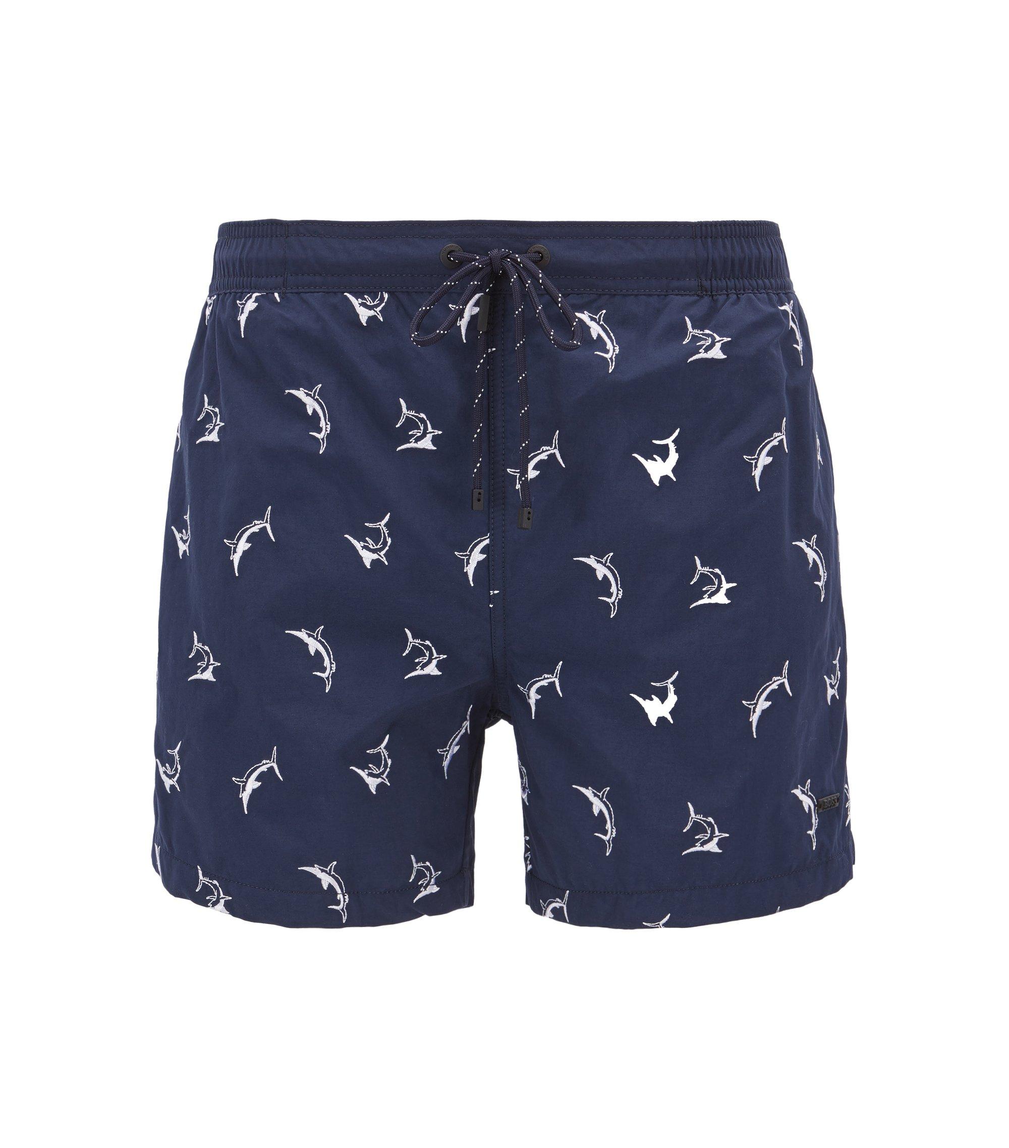 Short de bain à motif requins brodé, avec taille à cordon de serrage, Bleu vif