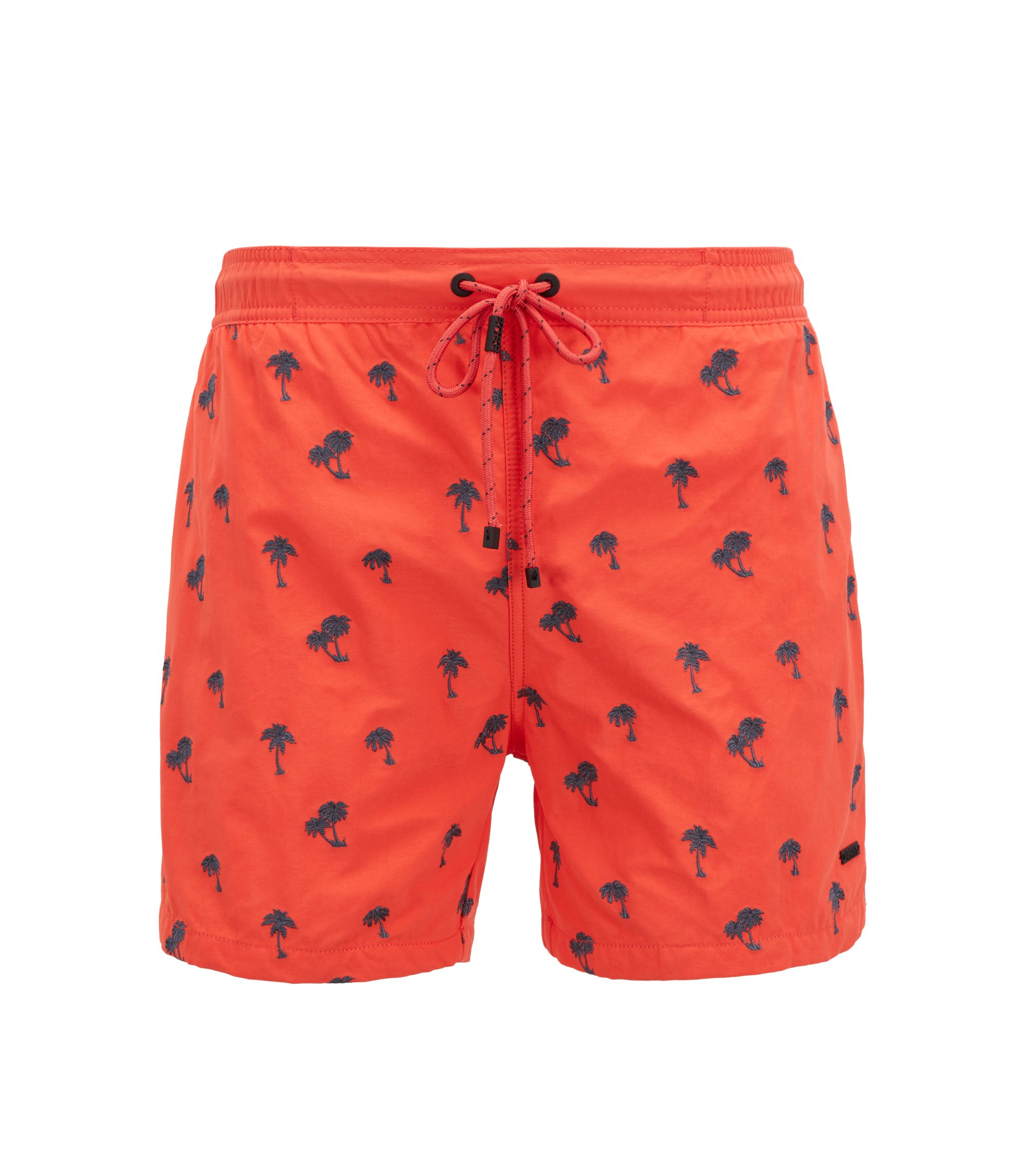 Shark-embroidered swim shorts with drawstring waist, Open Red