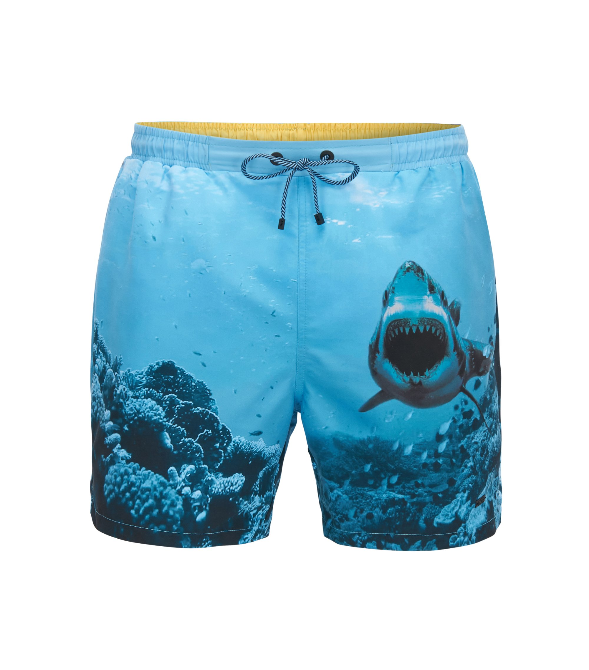 Quick-dry swim shorts with shark print, Open Blue