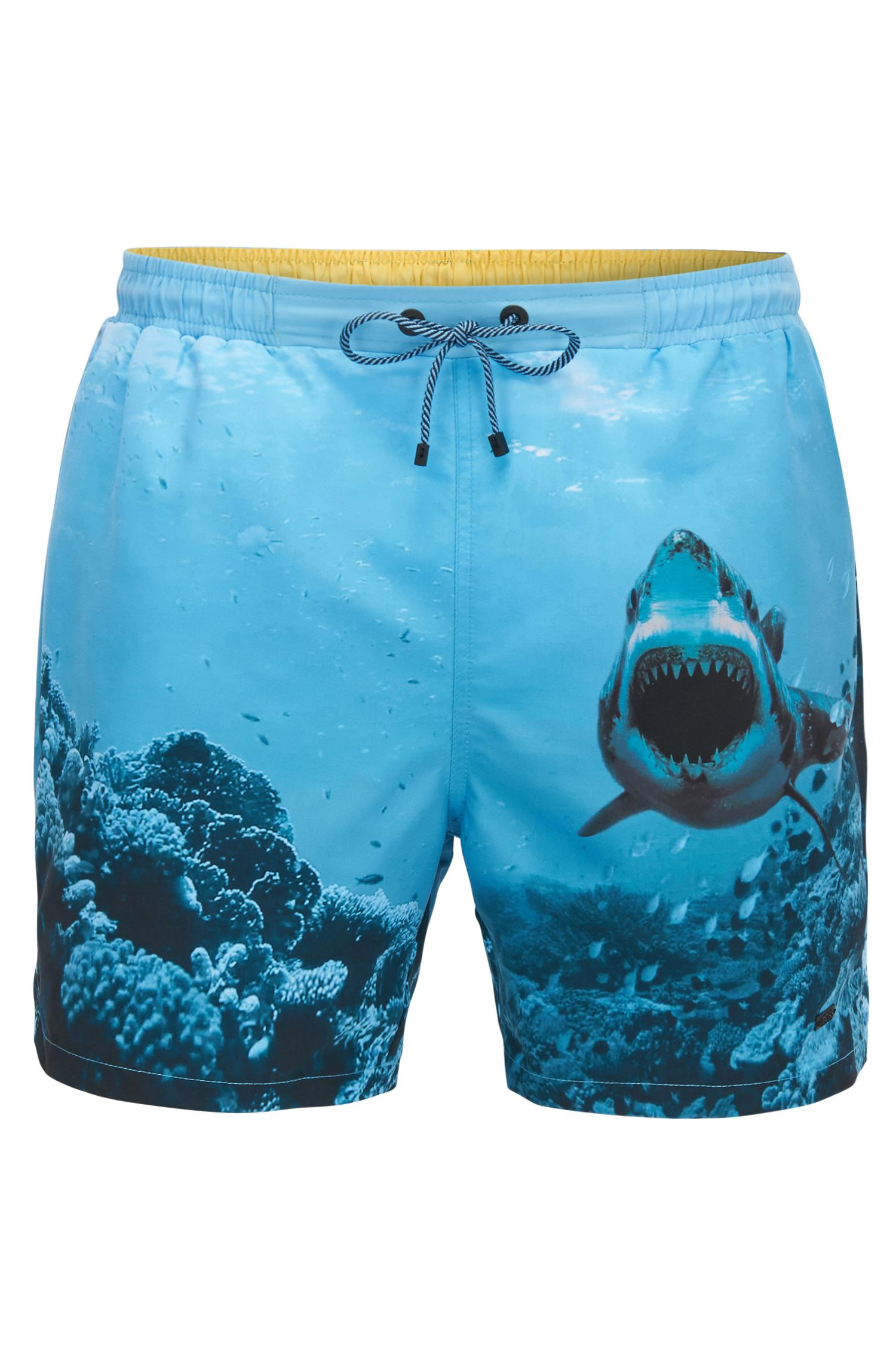Quick-dry swim shorts with shark print