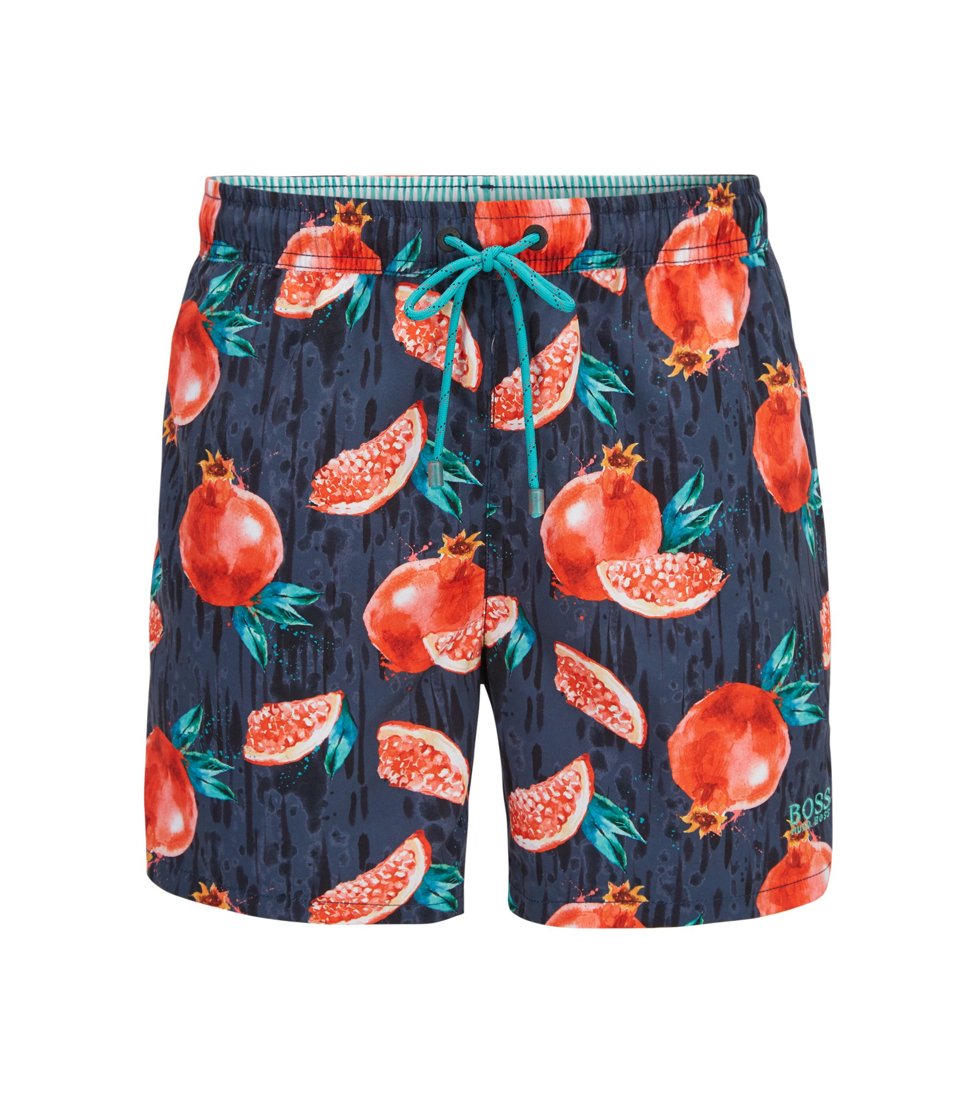 Quick-dry swim shorts with tropical fruit print, Grey