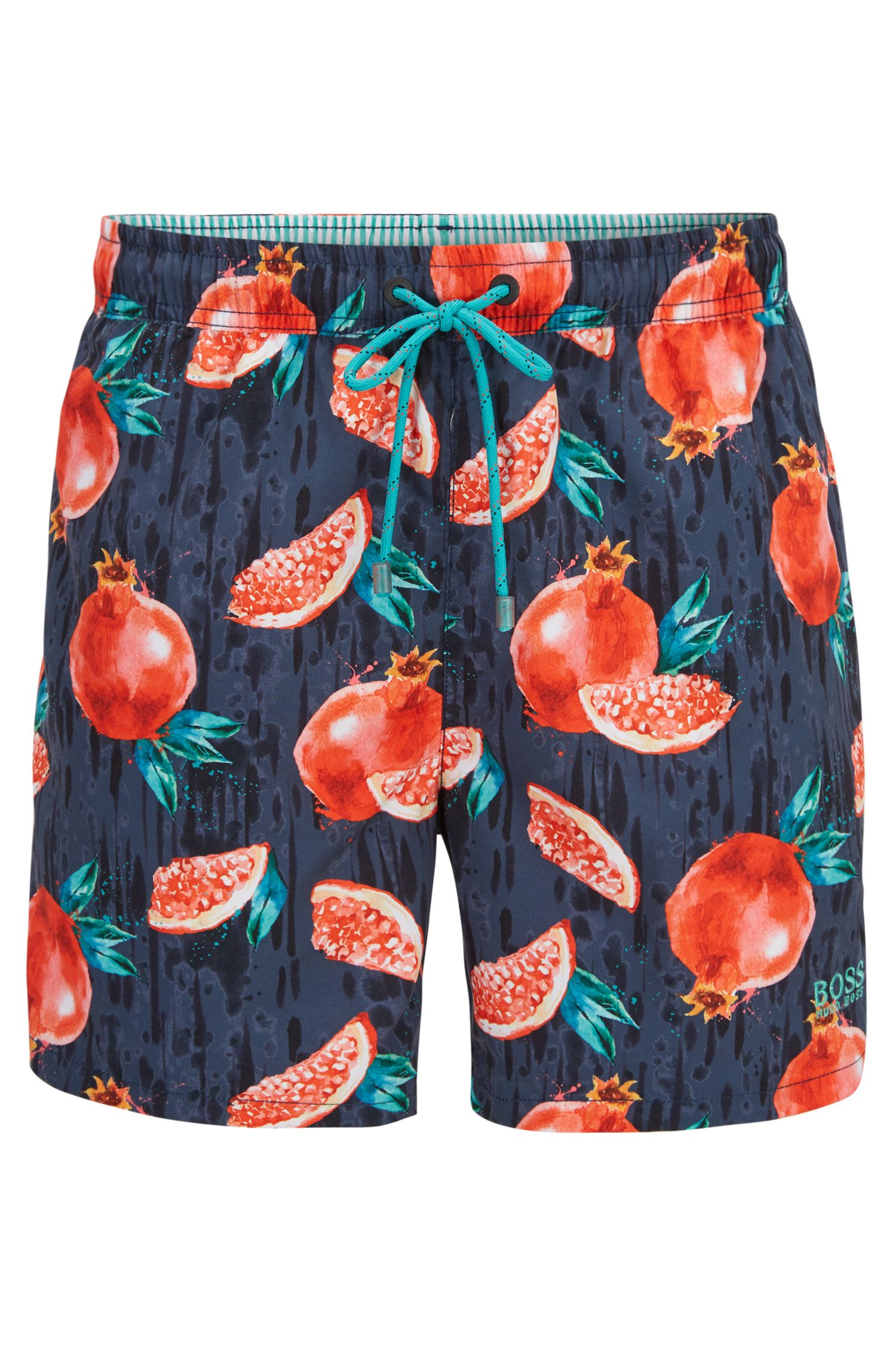 Quick-dry swim shorts with tropical fruit print