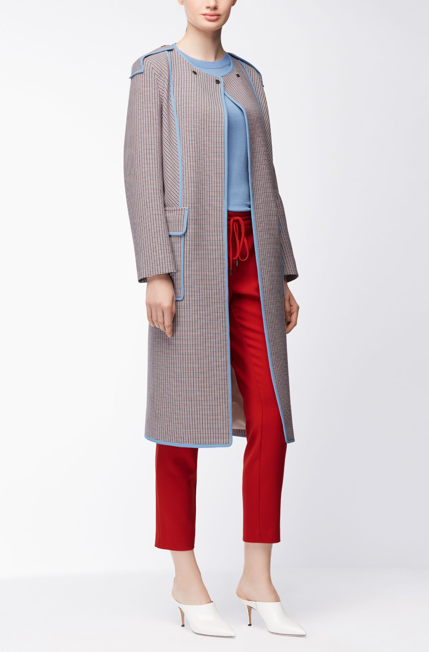 Oversized long coat in pepita-patterned fabric