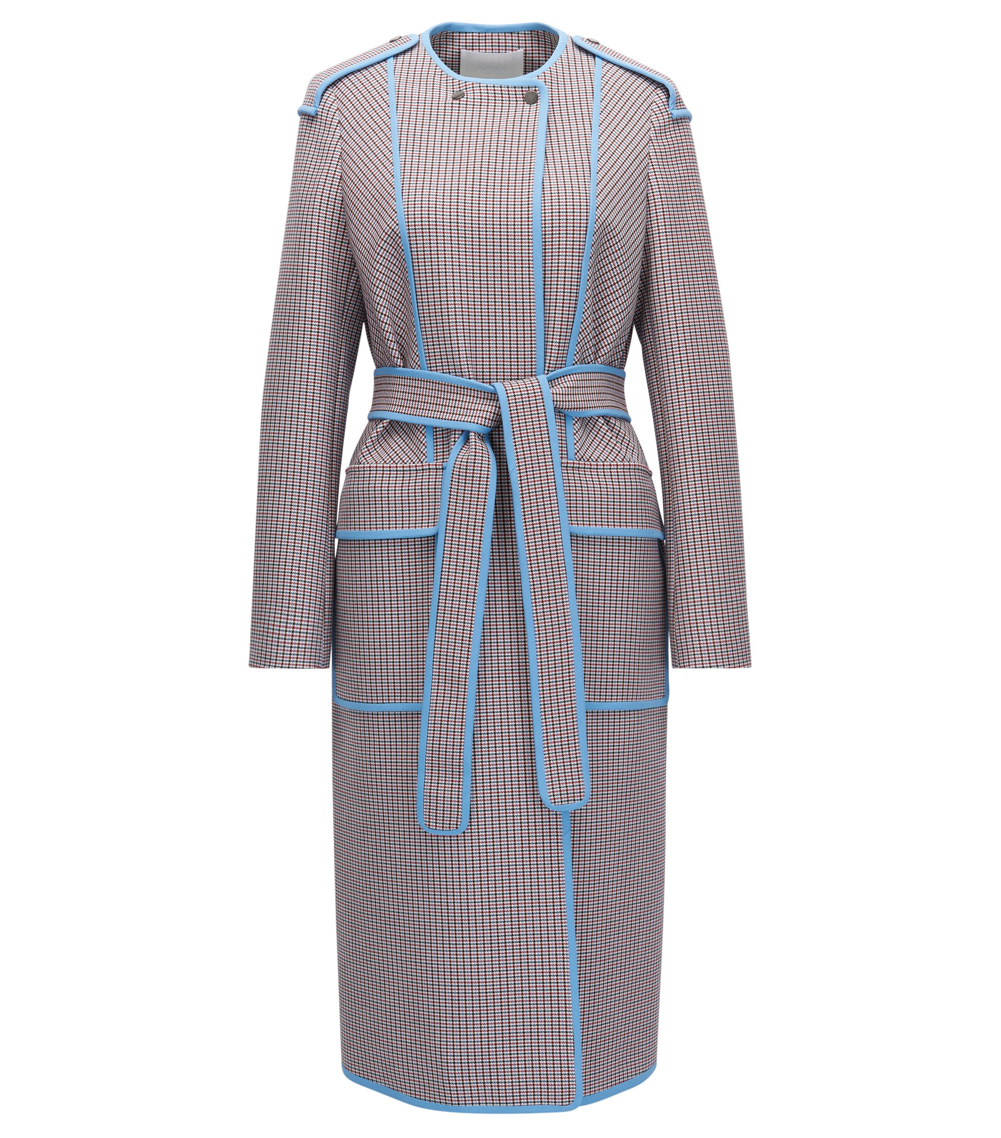 Oversized long coat in pepita-patterned fabric, Patterned