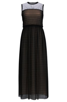Outlet Store Cheap Price Floor-length silk dress with hand-painted print HUGO BOSS Outlet Enjoy Affordable Cheap Price e0HbB6a4rG