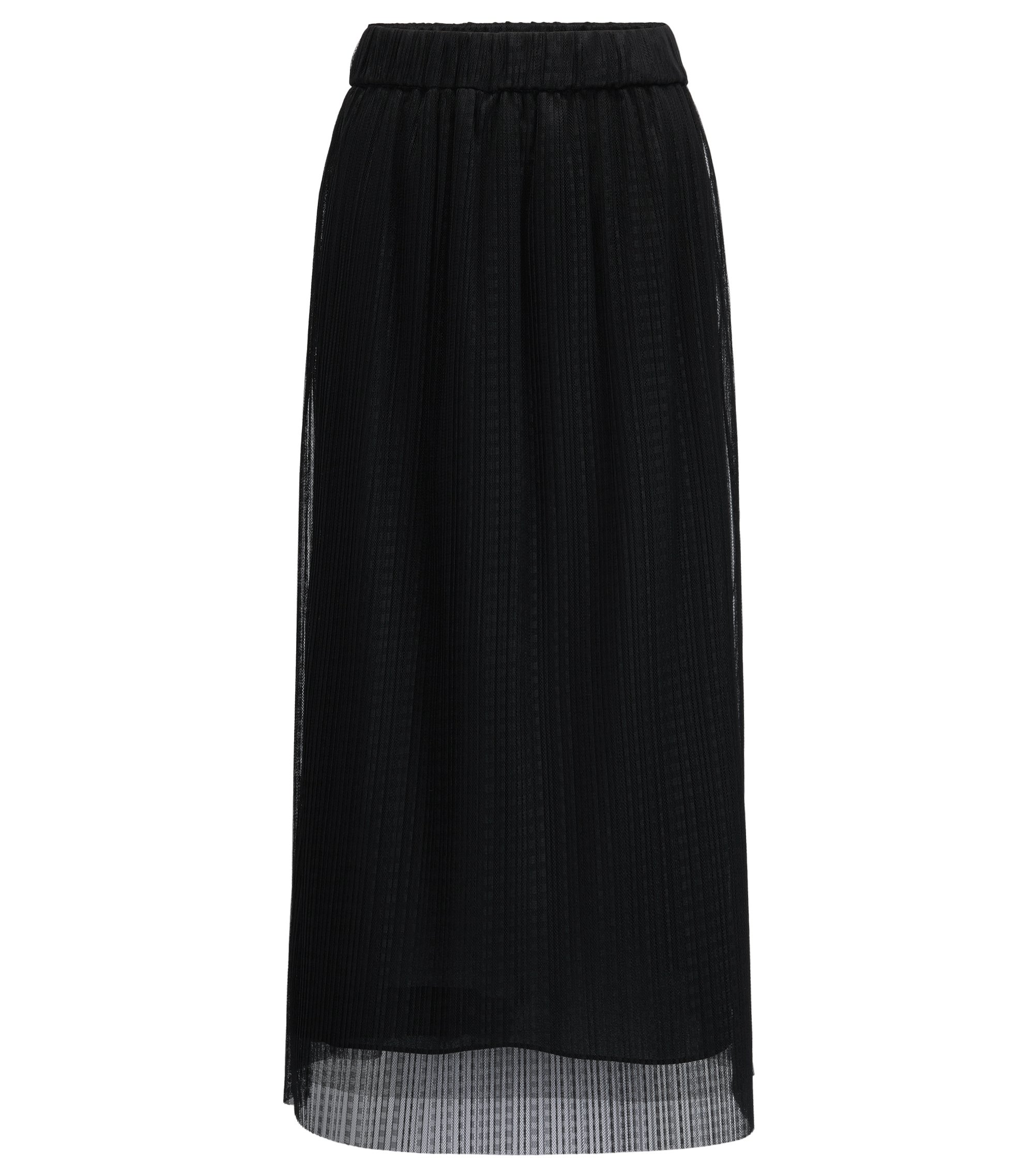Midi-length skirt in layered tulle, Black