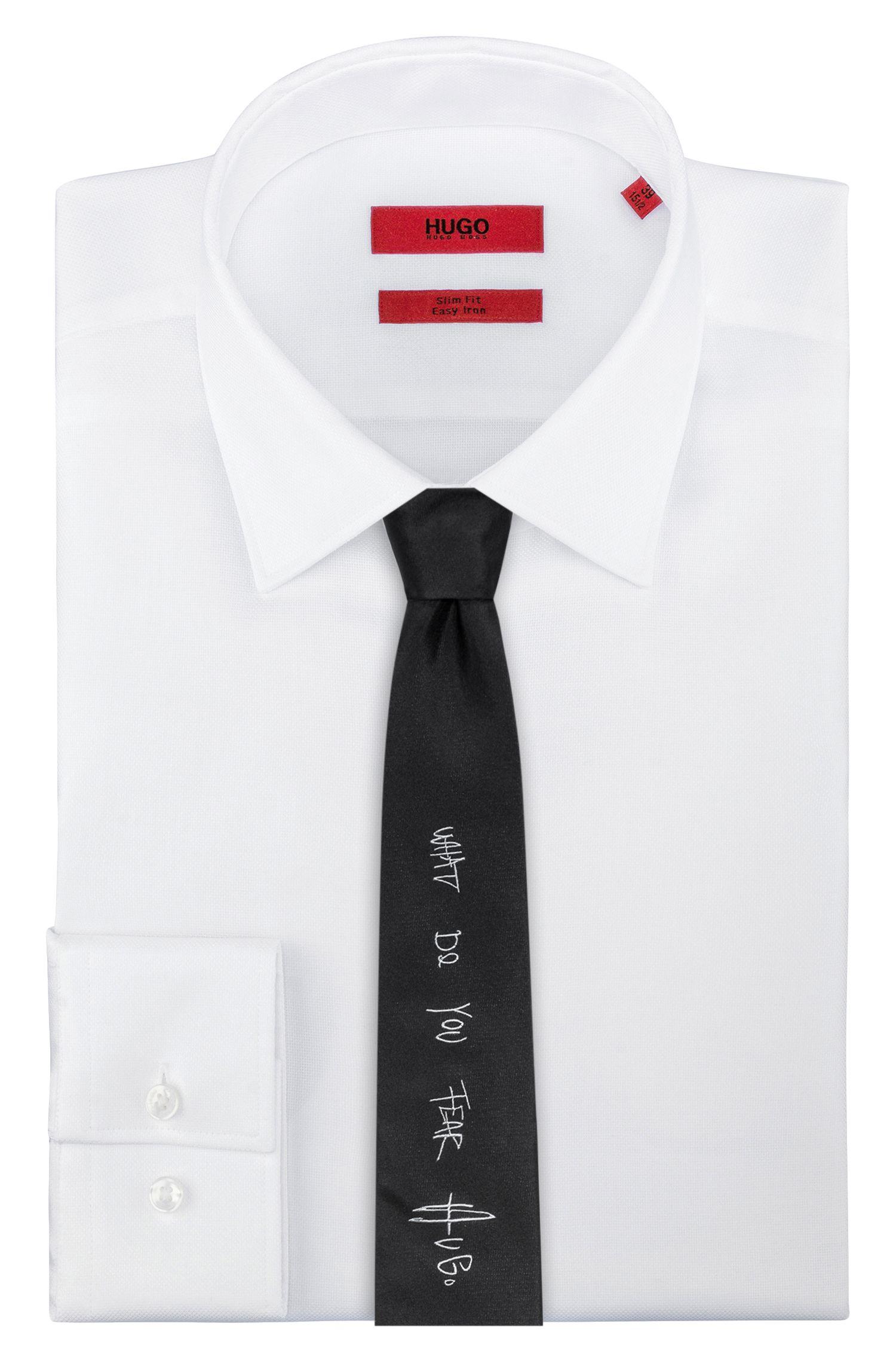Straight-cut silk jacquard tie with urban slogan HUGO BOSS