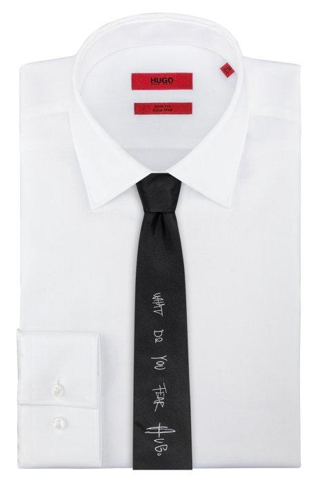 Straight-cut silk jacquard tie with urban slogan HUGO BOSS 2uXjGD