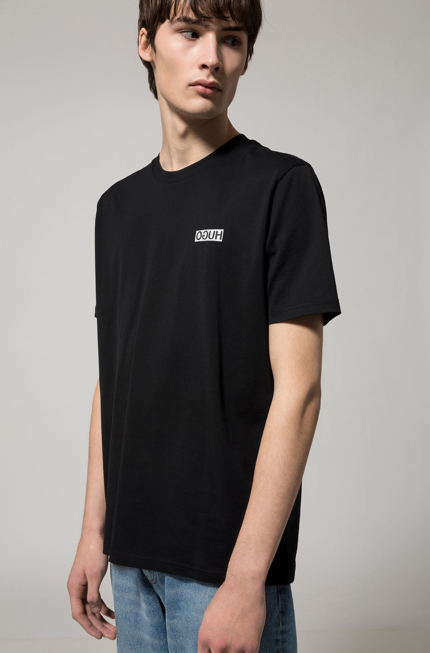 Oversized cotton jersey T-shirt with reverse logo