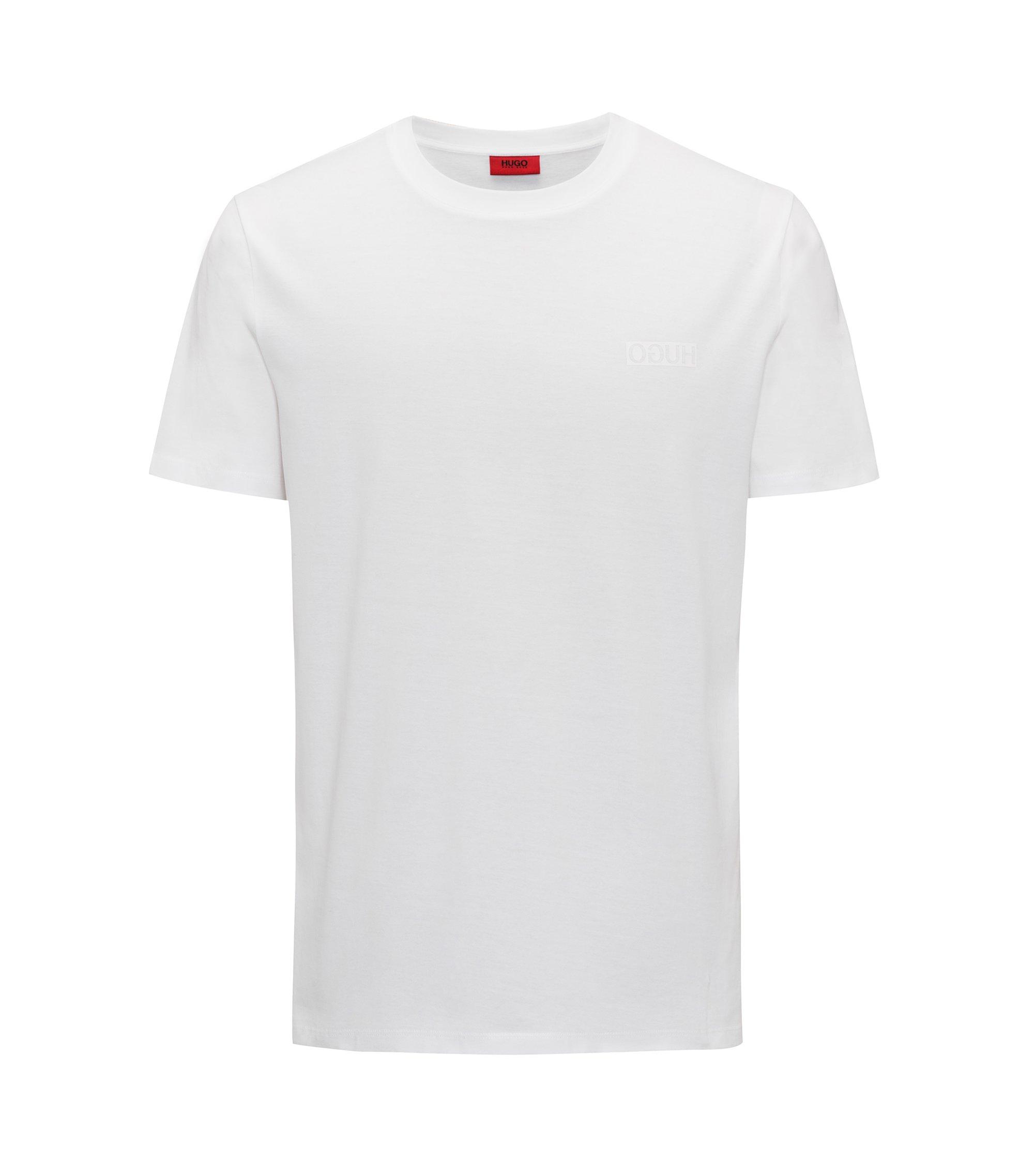 Camiseta de corte extragrande en punto de algodón con logo invertido, Blanco