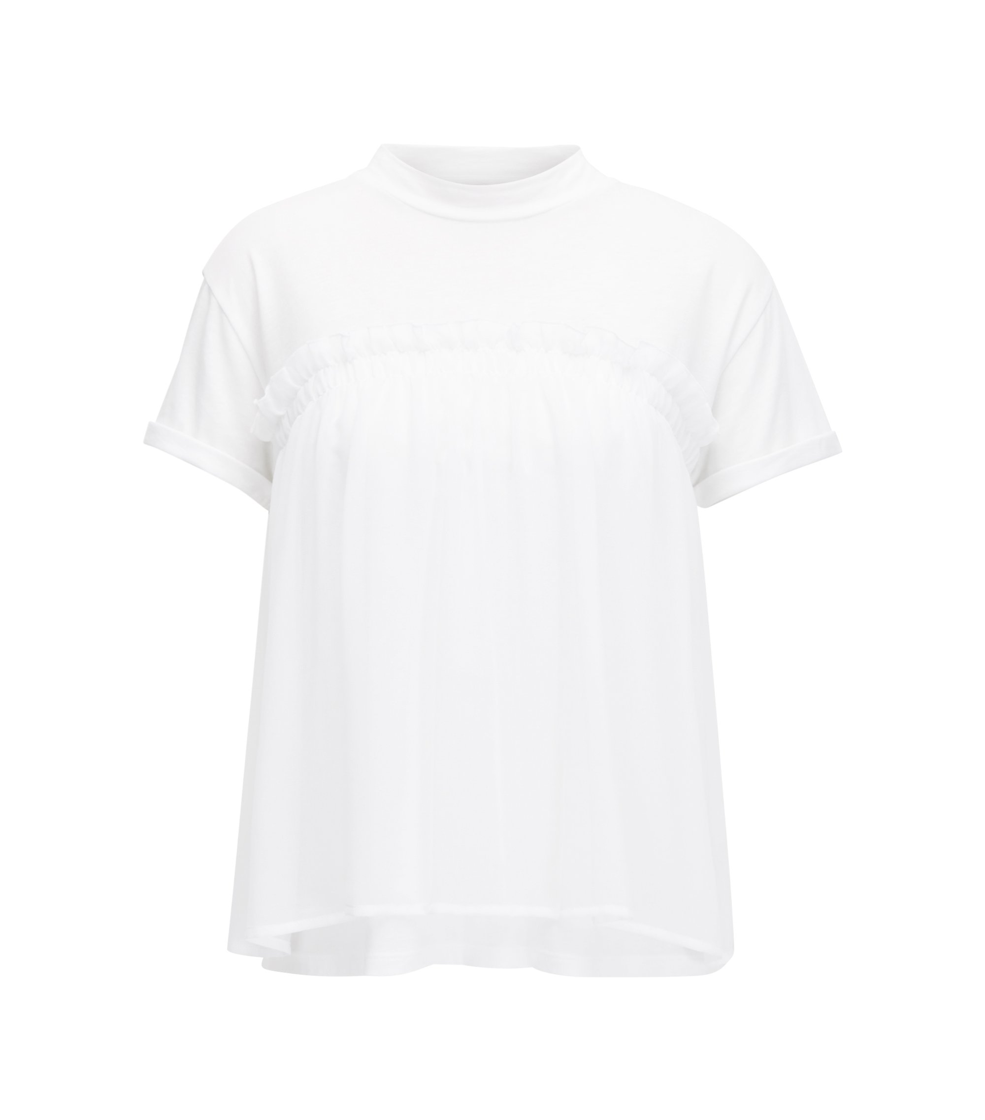 A-line top with transparent overlayer, White