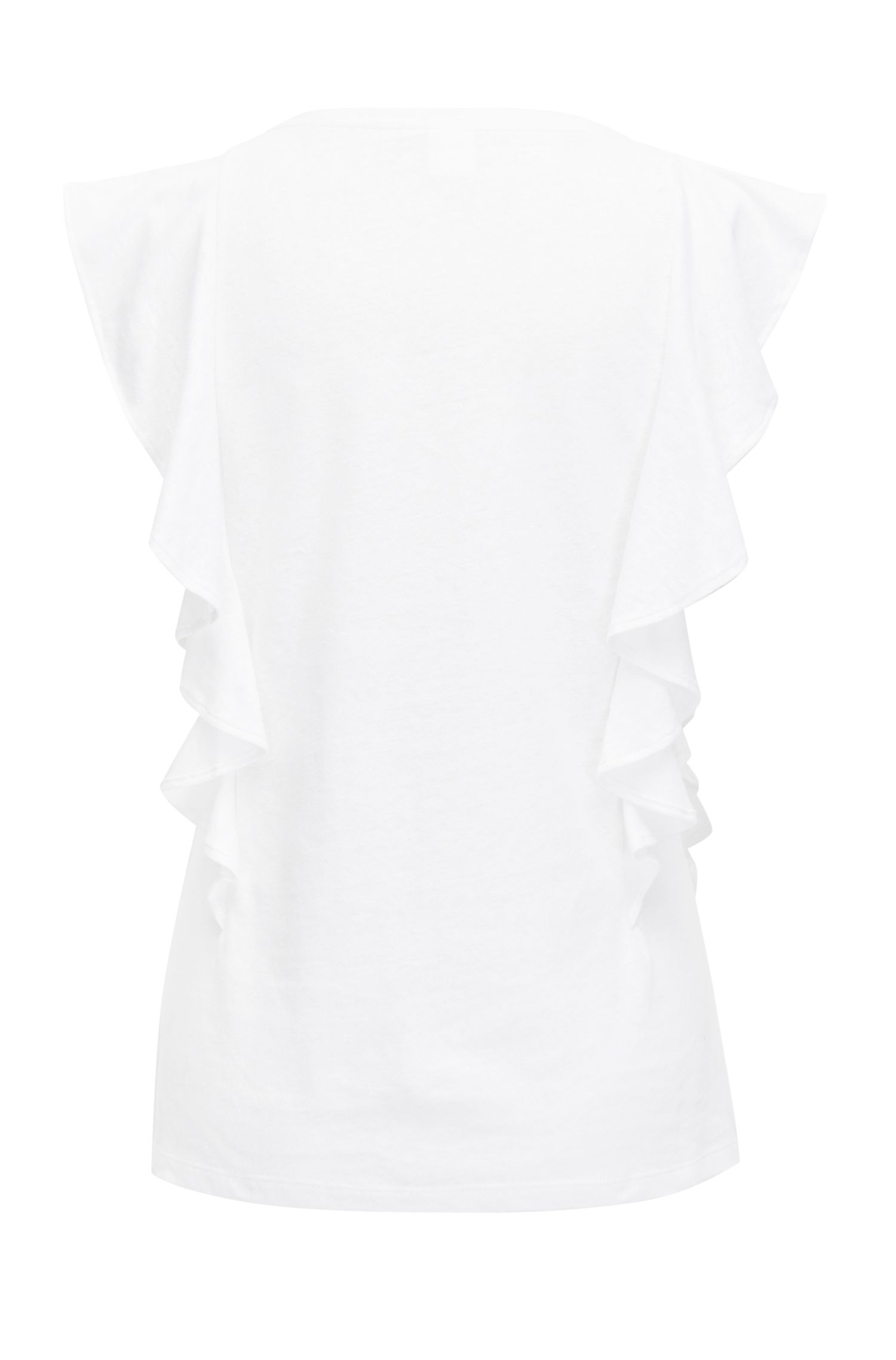 Ruffle-sleeve top in a cotton-linen blend