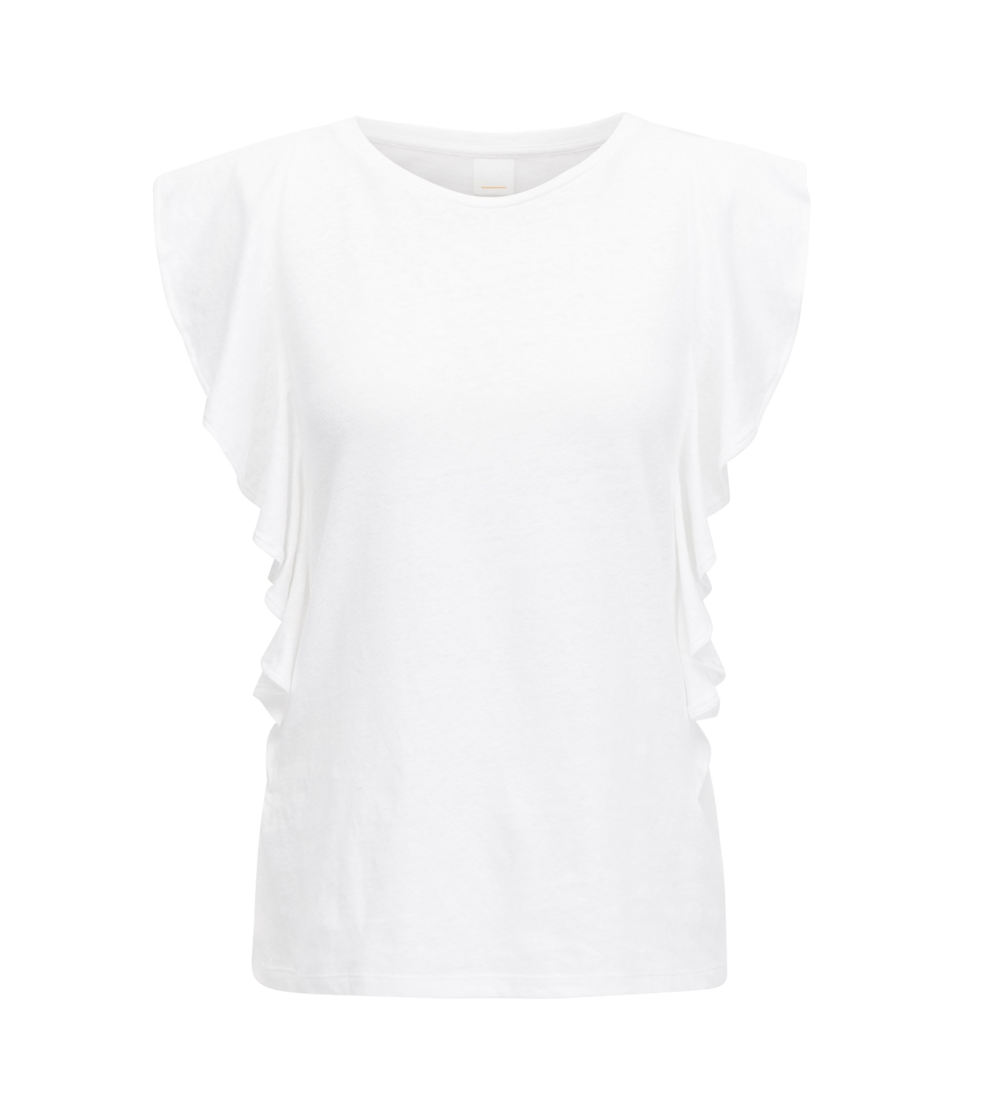 Ruffle-sleeve top in a cotton-linen blend, White