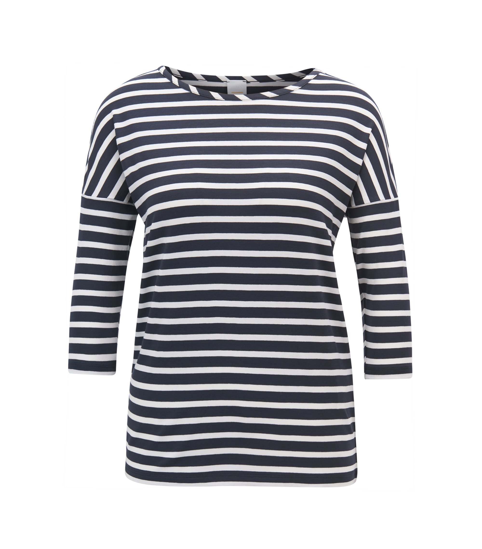 Relaxed-fit striped T-shirt in stretch fabric, Blue