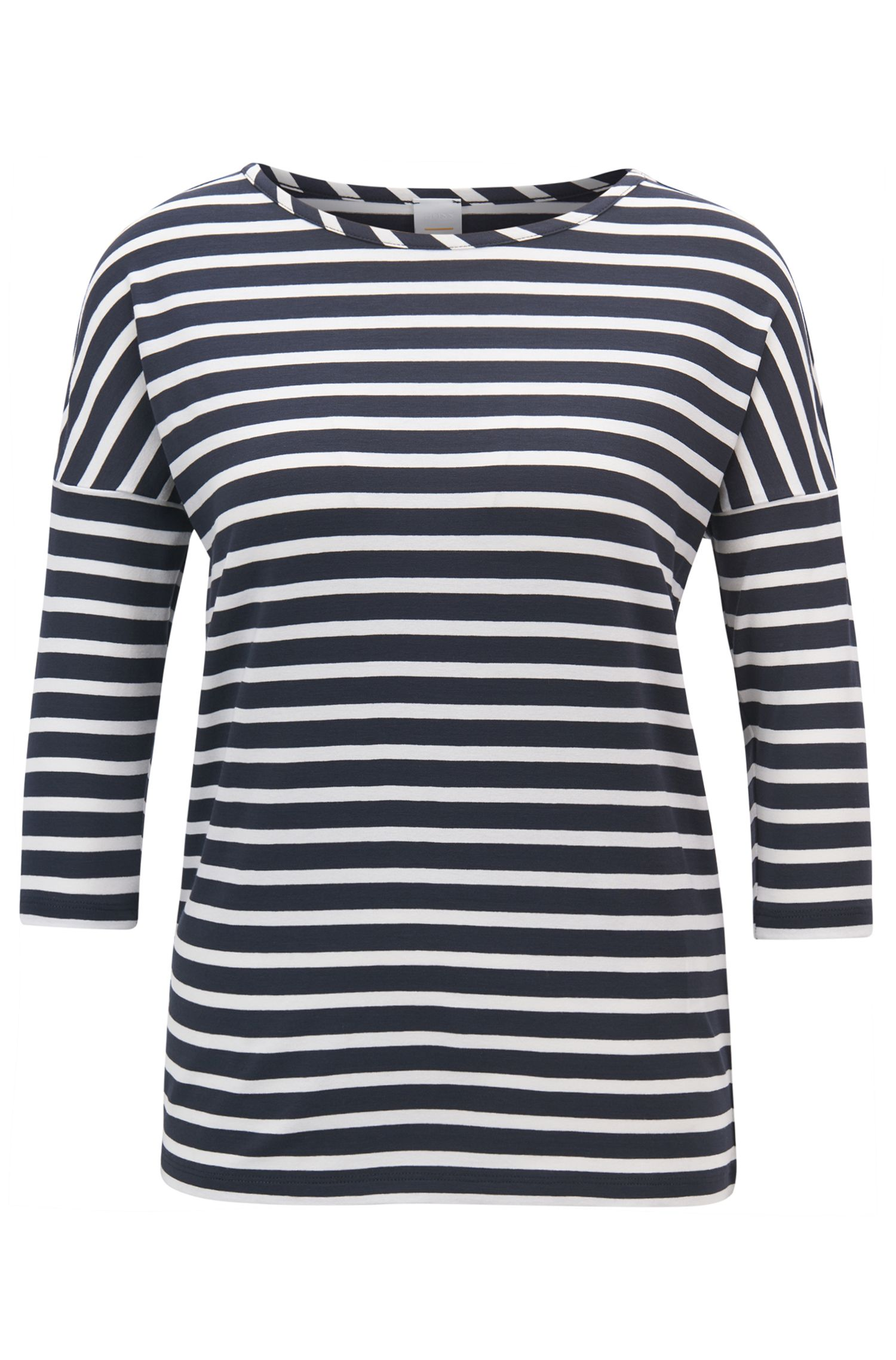 T-shirt rayé Relaxed Fit en tissu stretch