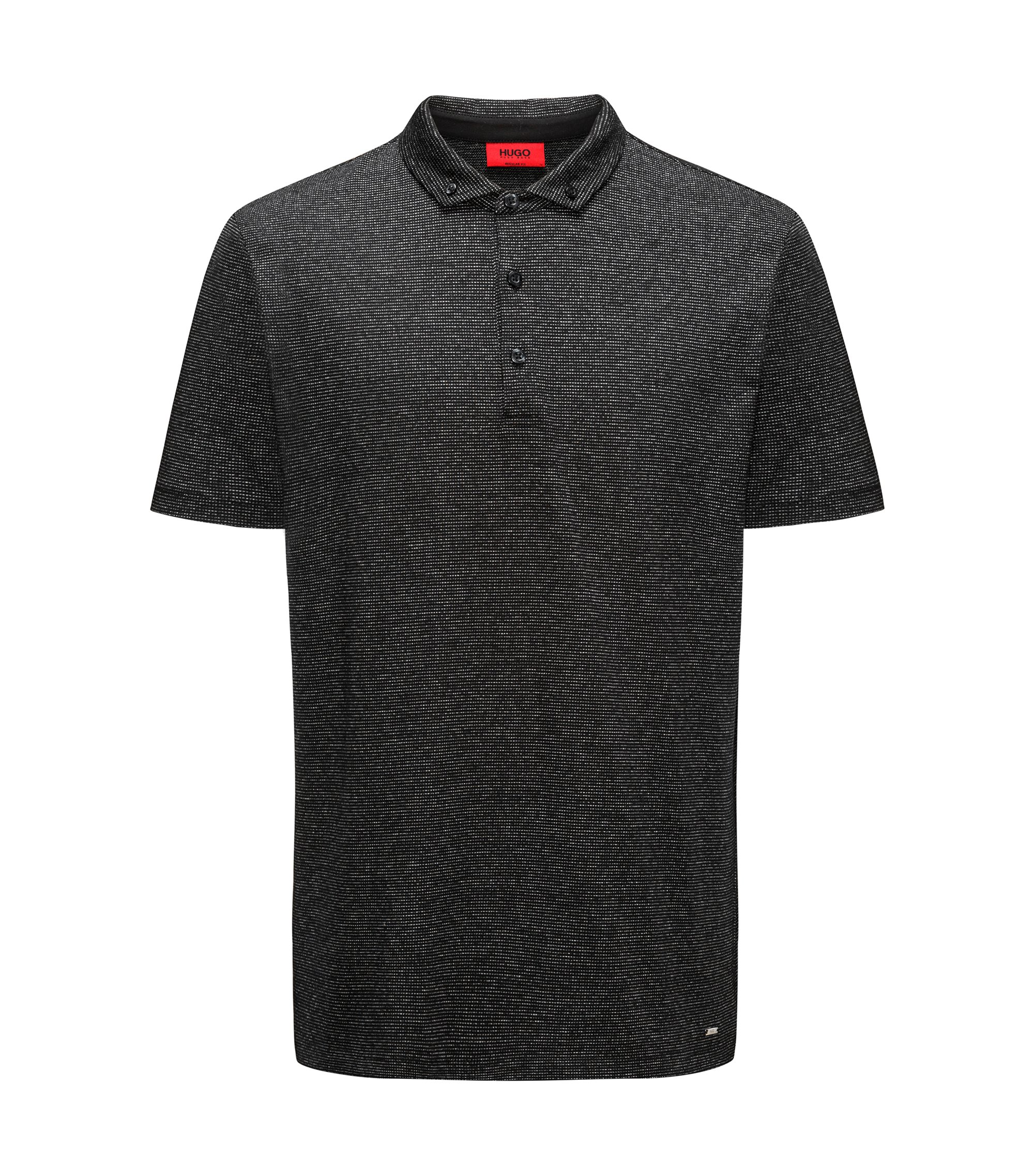 Polo shirt in mercerised cotton-blend jacquard, Black