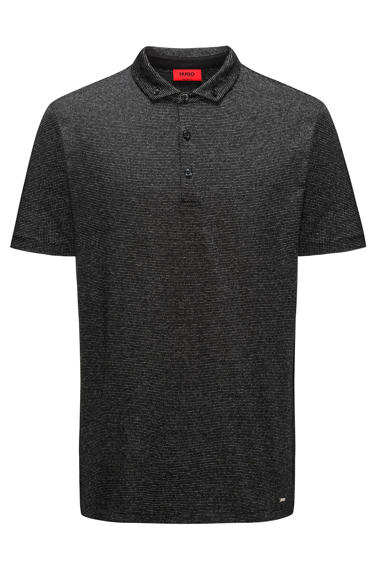 Polo shirt in mercerised cotton-blend jacquard