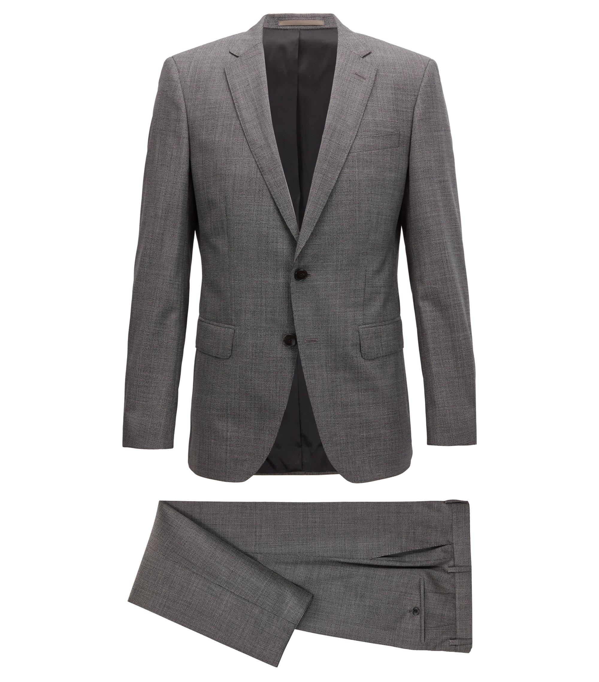 Dezent gemusterter Slim-Fit Anzug aus reiner Schurwolle, Dunkelgrau