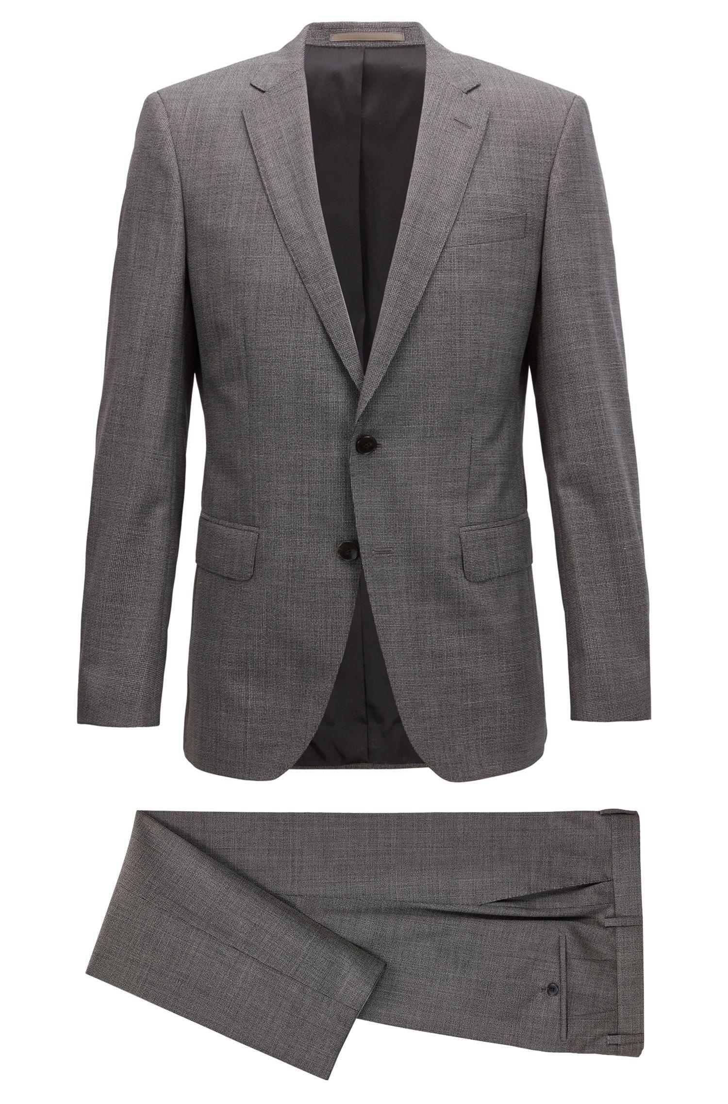 Dezent gemusterter Slim-Fit Anzug aus reiner Schurwolle