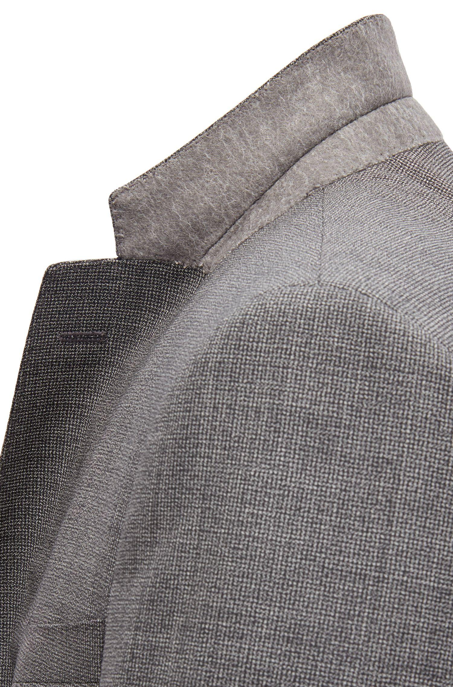 Slim-fit kostuum van scheerwol met microdessin