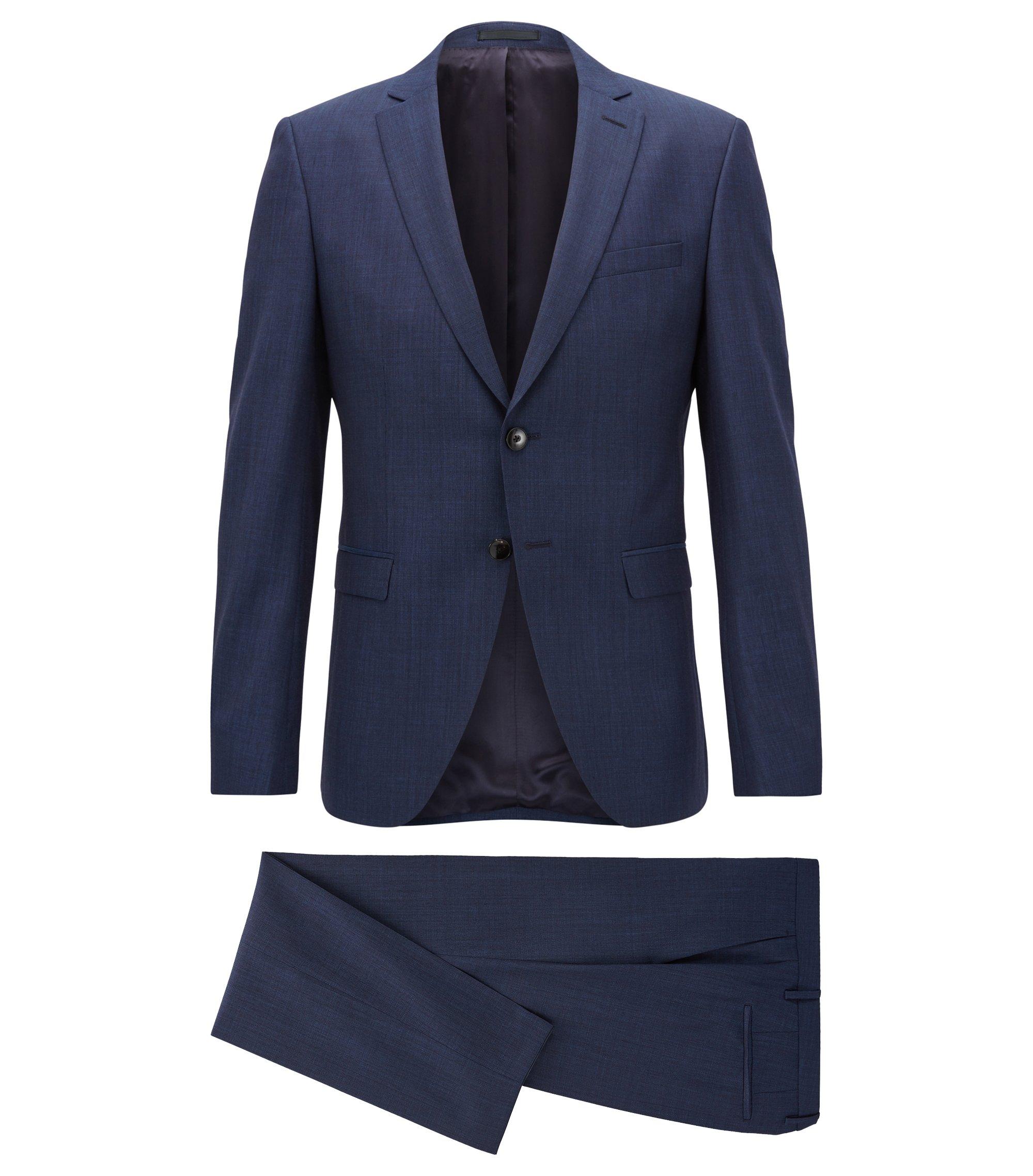 Extra slim-fit kostuum van scheerwol, Donkerblauw