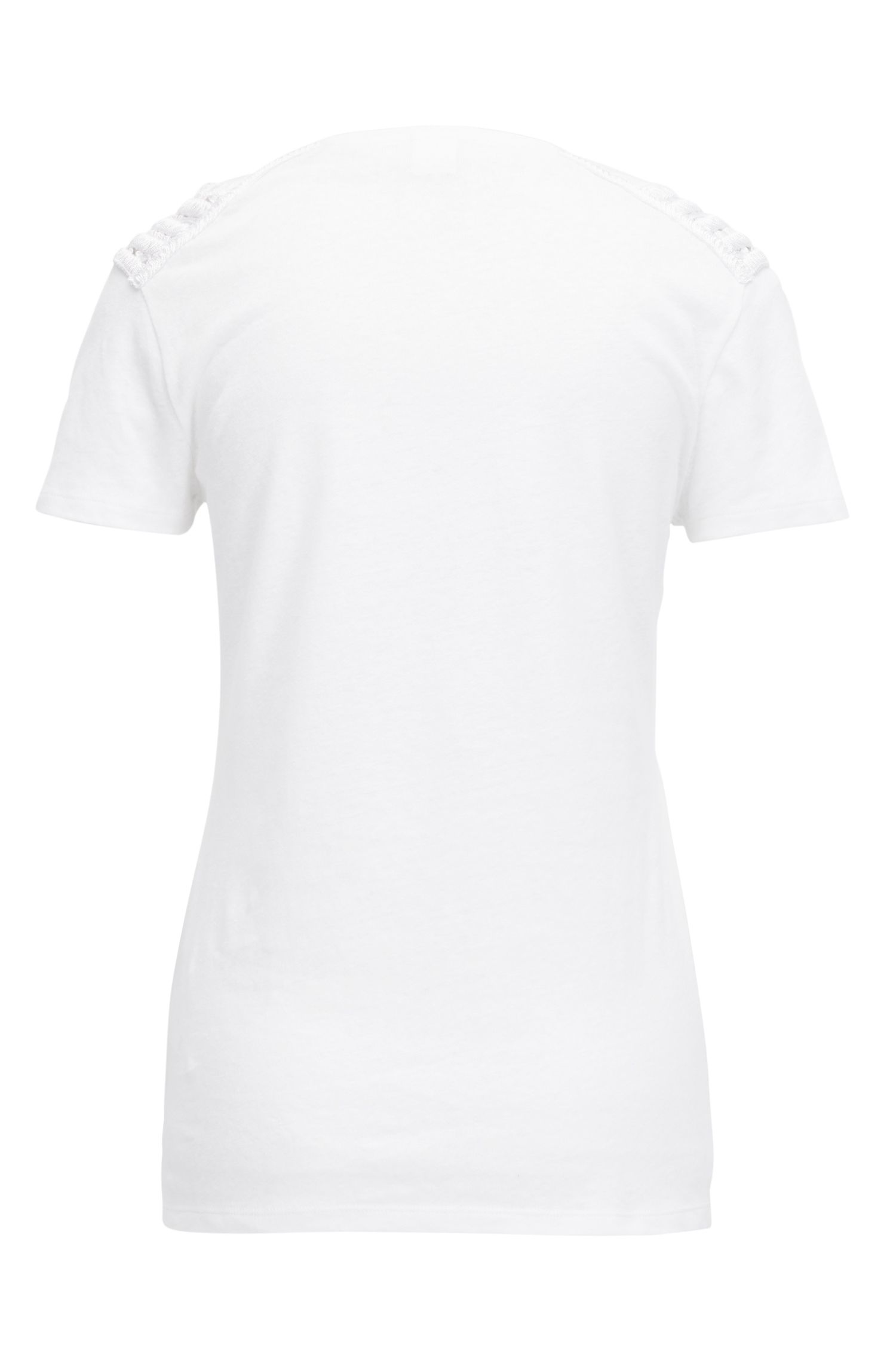Jersey T-shirt with grid-lace shoulder panels
