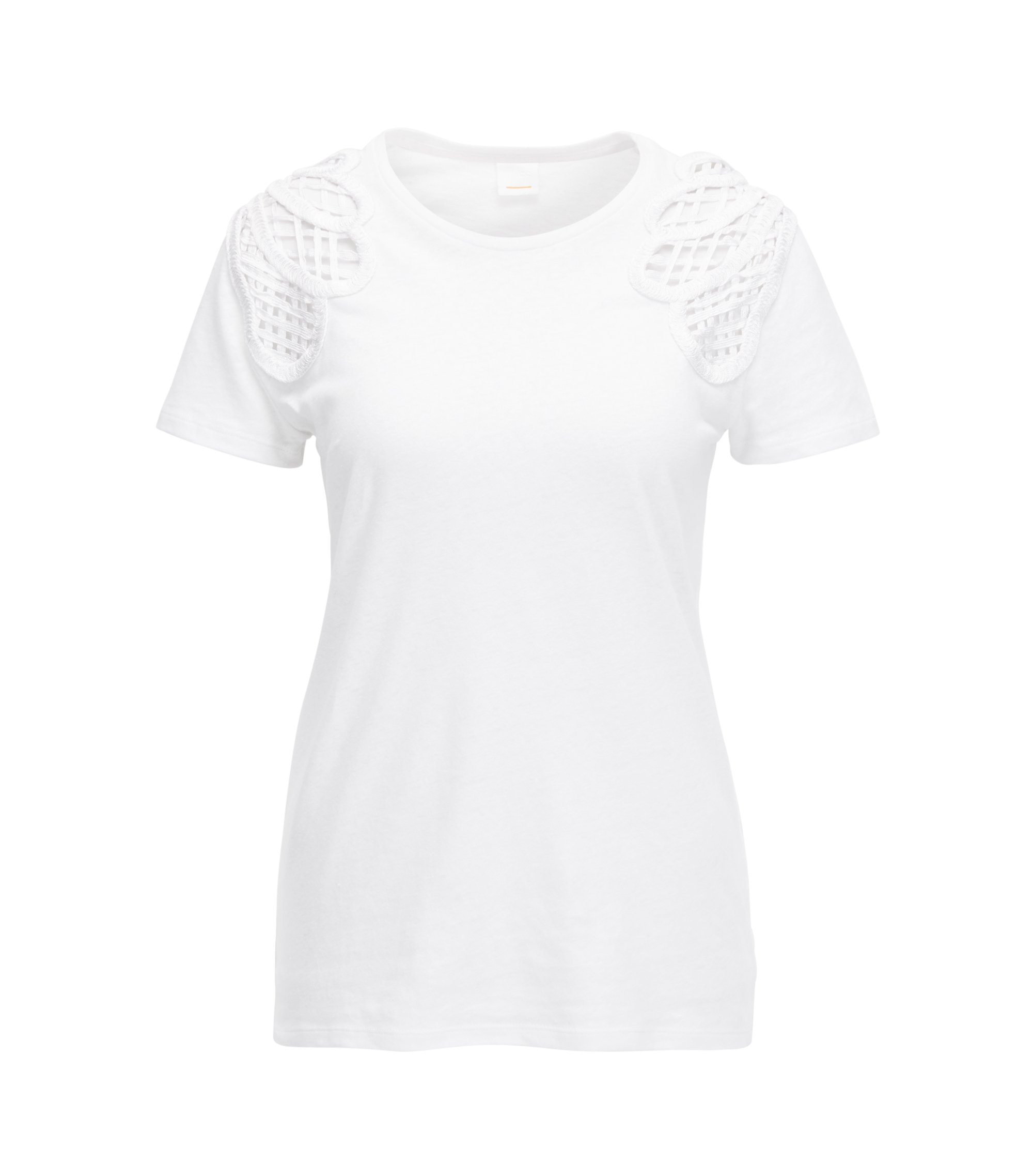 Jersey T-shirt with grid-lace shoulder panels, White