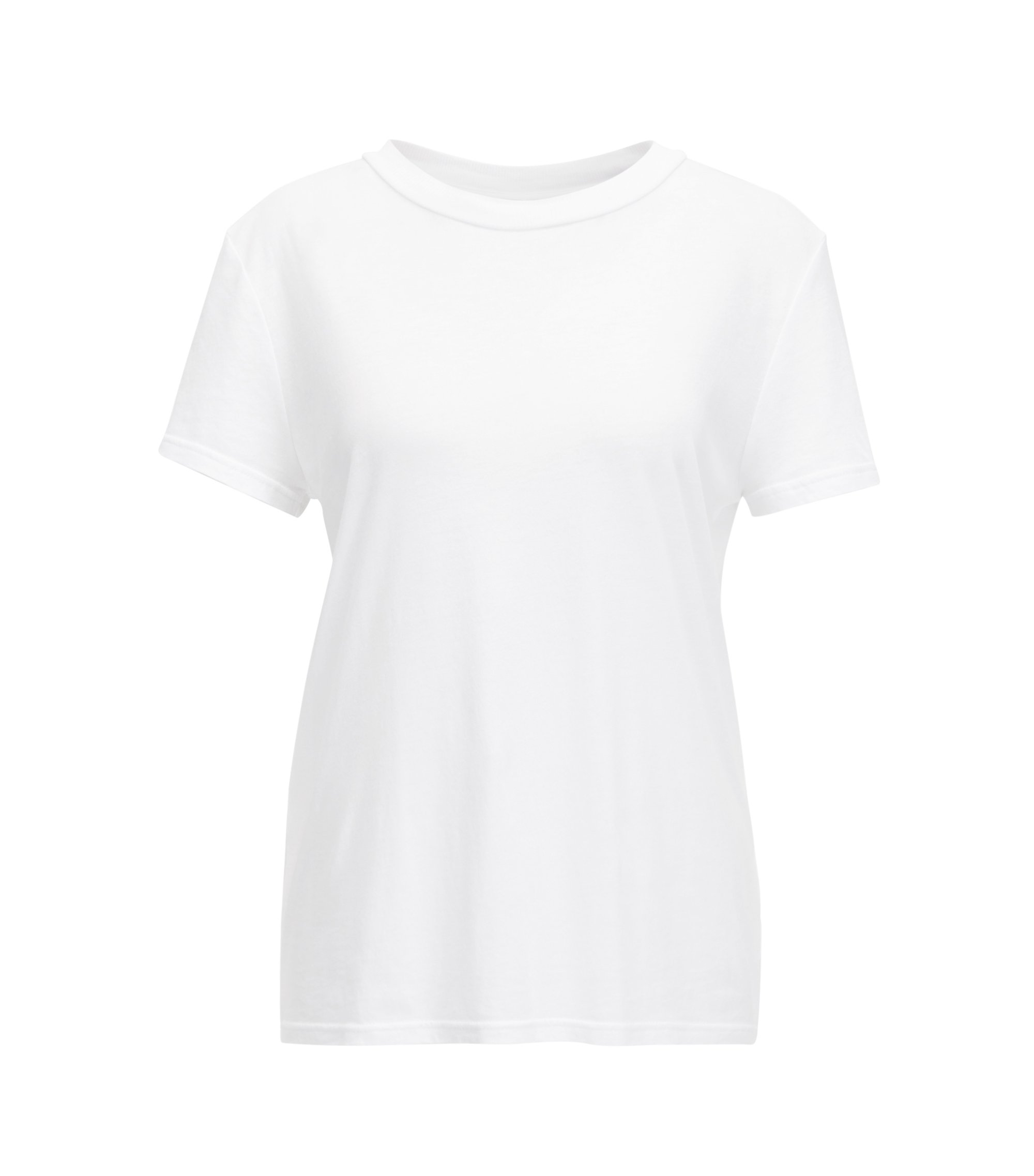Oversized-fit cotton-blend T-shirt with feature neckline, White