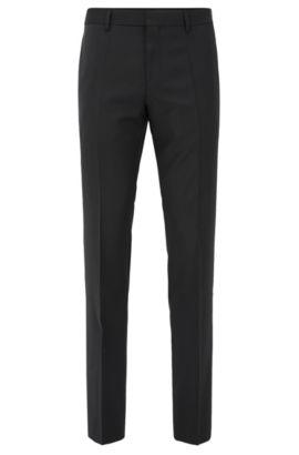Pantalon Slim Fit en laine vierge, Noir