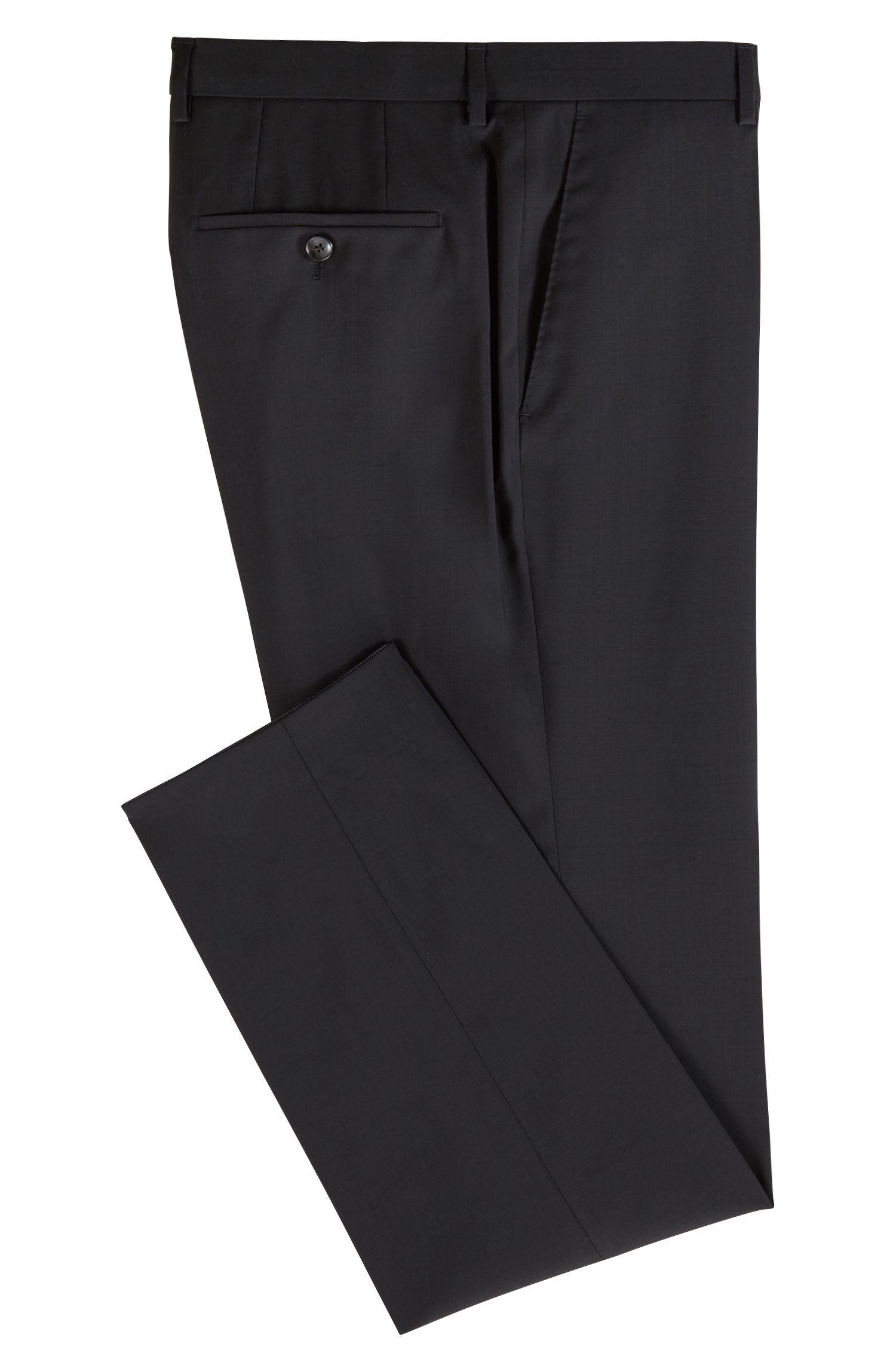 Slim-fit broek van scheerwol, Zwart