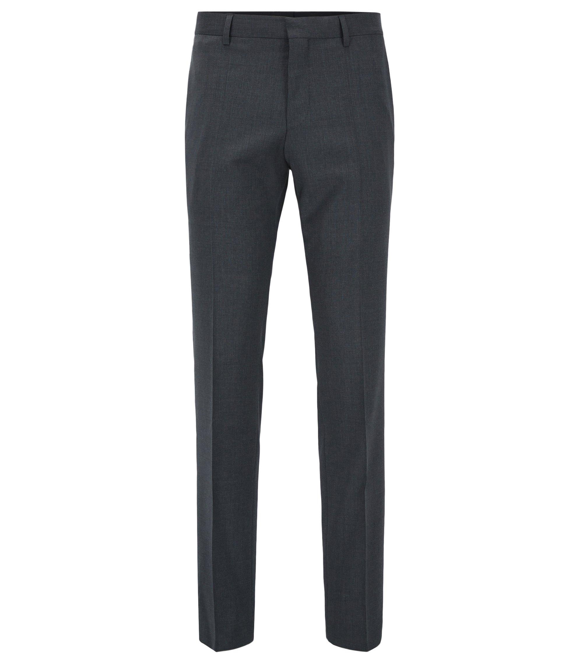 Slim-fit broek van scheerwol, Donkergrijs